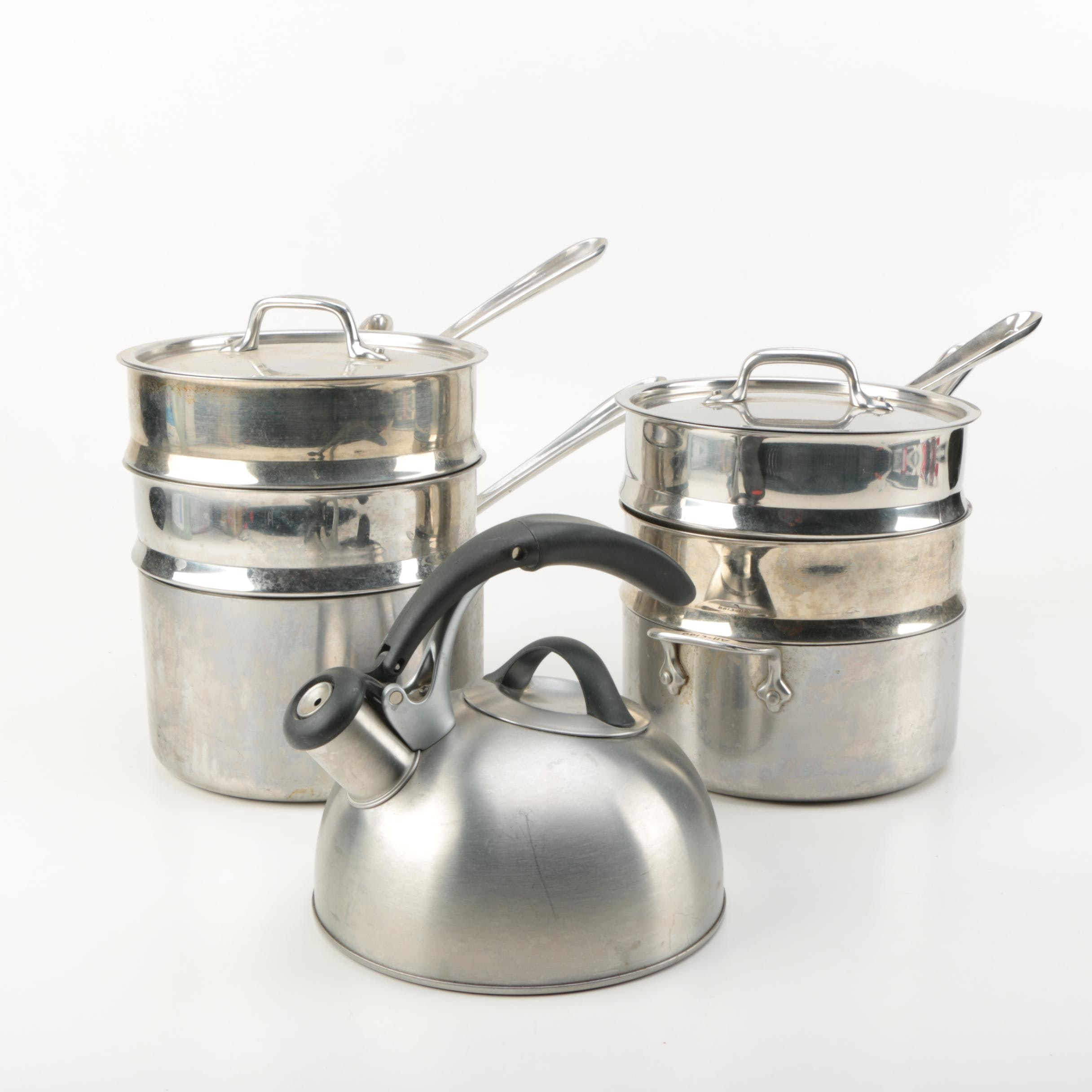 All Clad Steamer Pot and OXO Tea Kettle