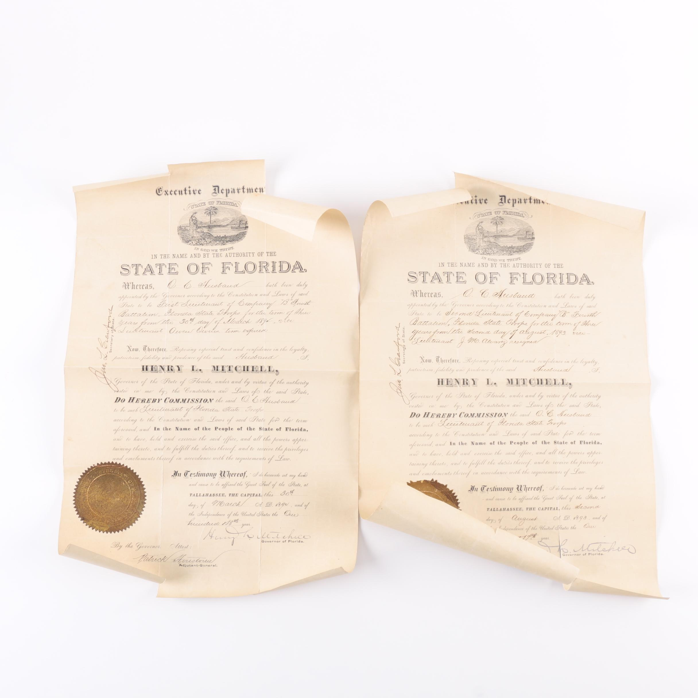 """Antique Commission To Lieutenant Of Florida State Troops Company """"B"""" Documents"""