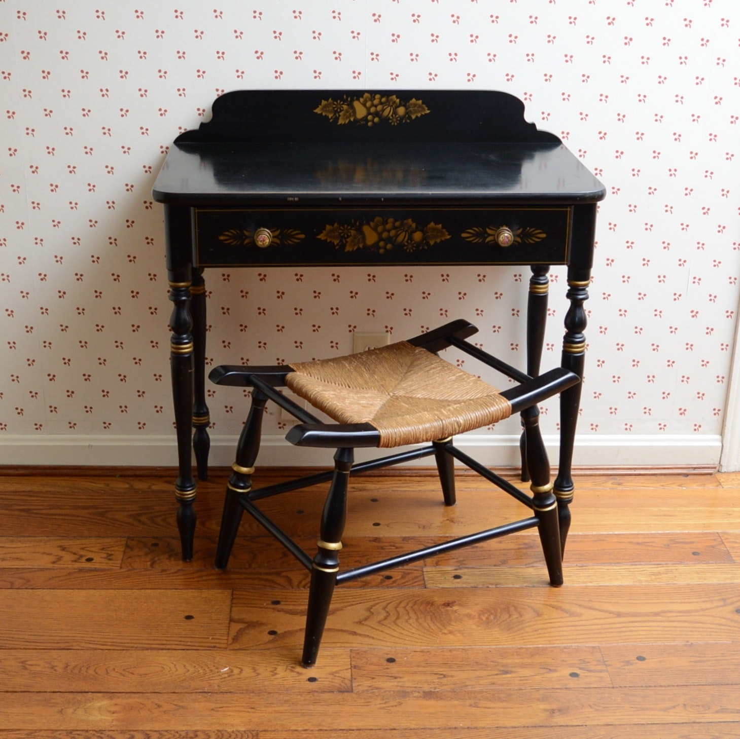 Vintage Hitchcock Style Writing Desk and Stool
