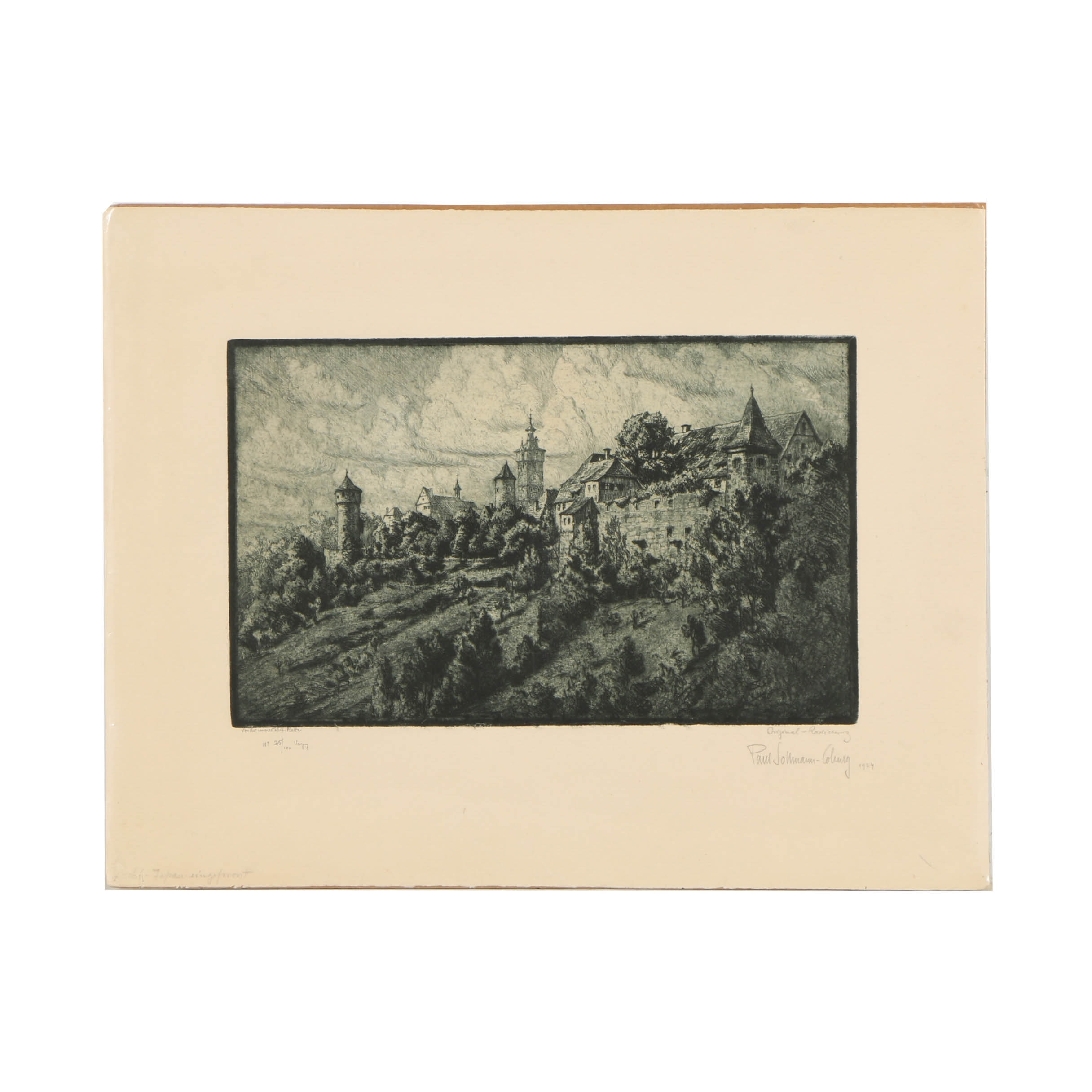 Paul Sollmann Rothenburg Limited Edition Etching on Paper of a Village Landscape