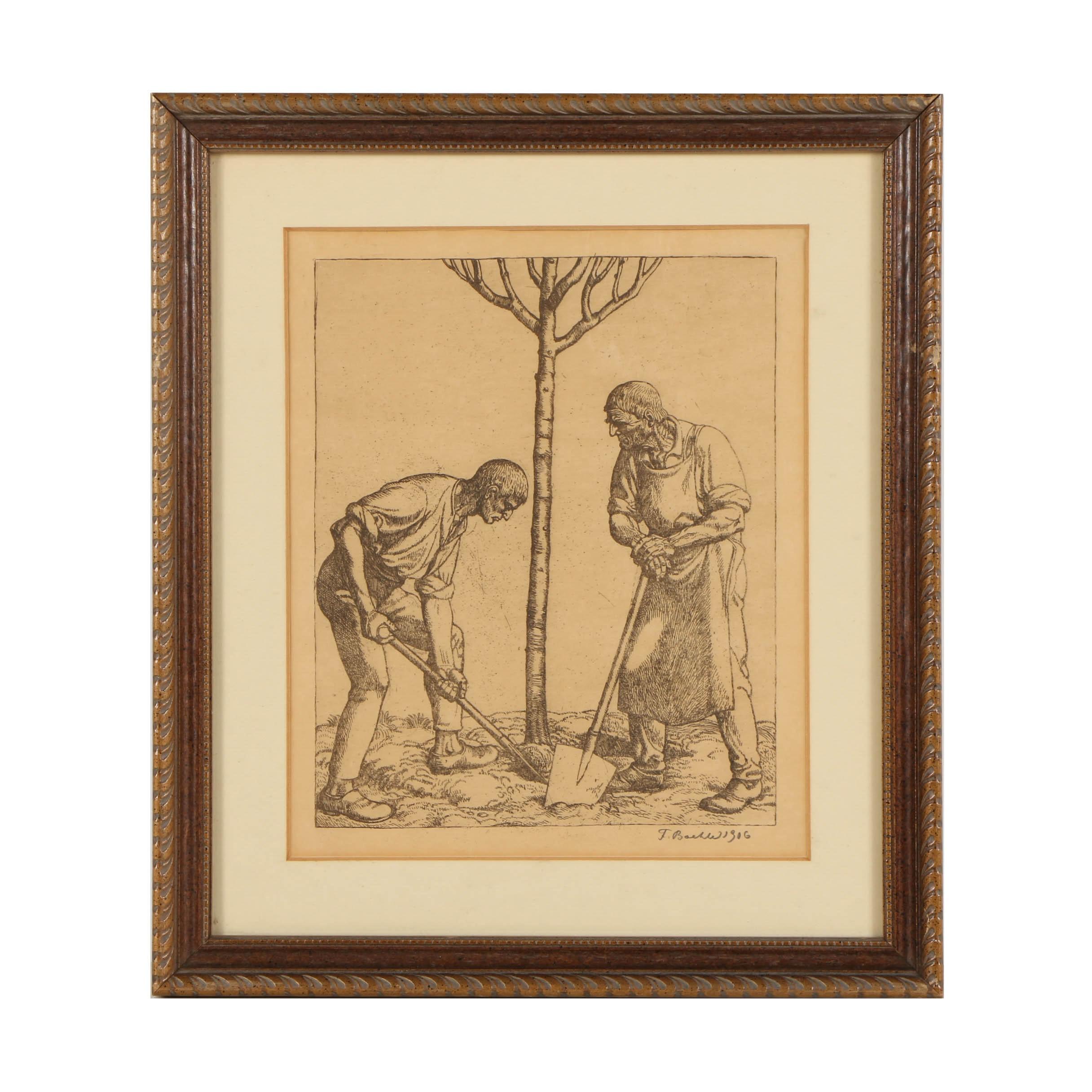 Fritz Boehle Wood Engraving on Paper of Men Digging
