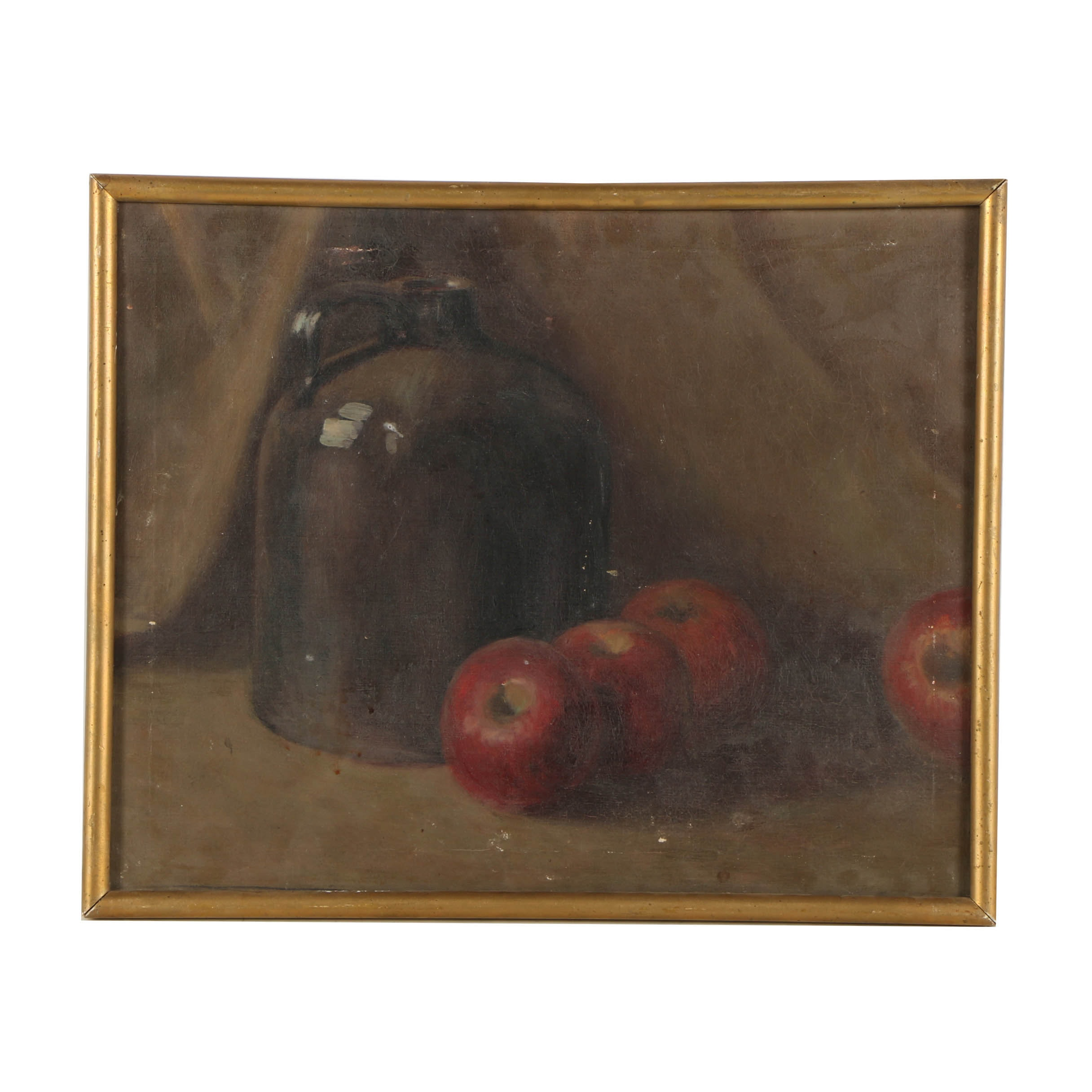 E. Pulver Oil Painting on Canvas Still Life