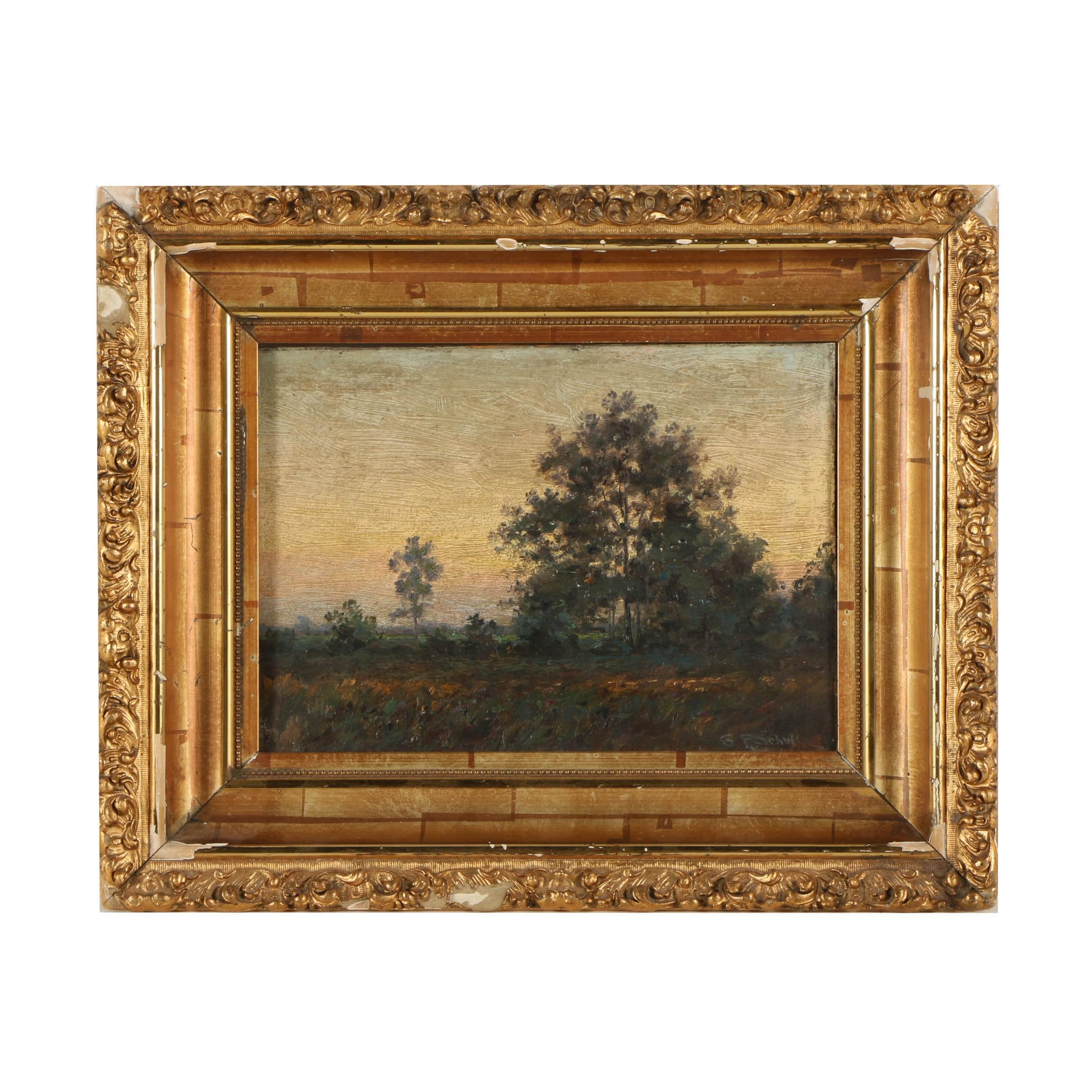 George Shultz Oil Tonalist Landscape Painting on Board