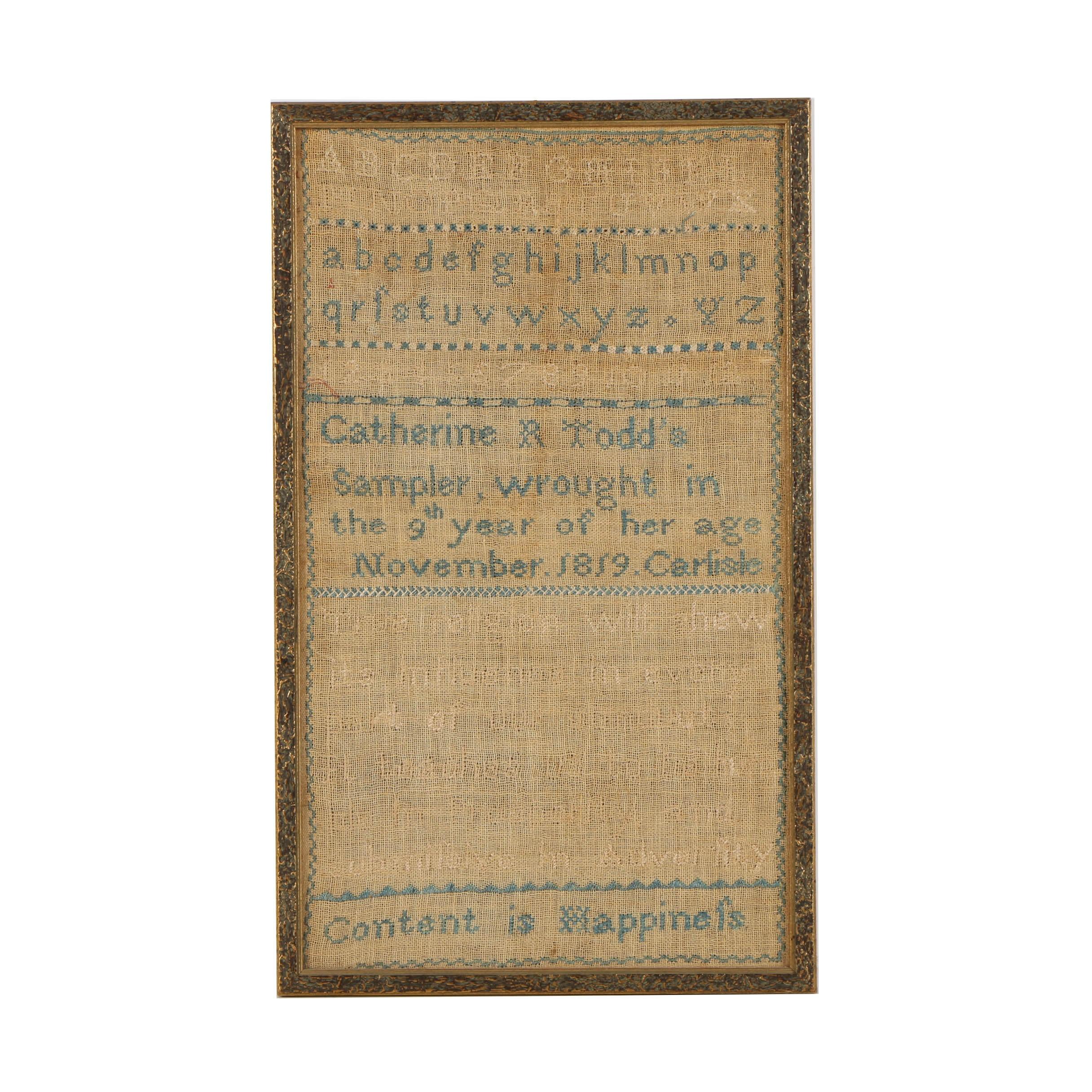 Antique Cross-Stitch Sampler on Linen Circa 1819