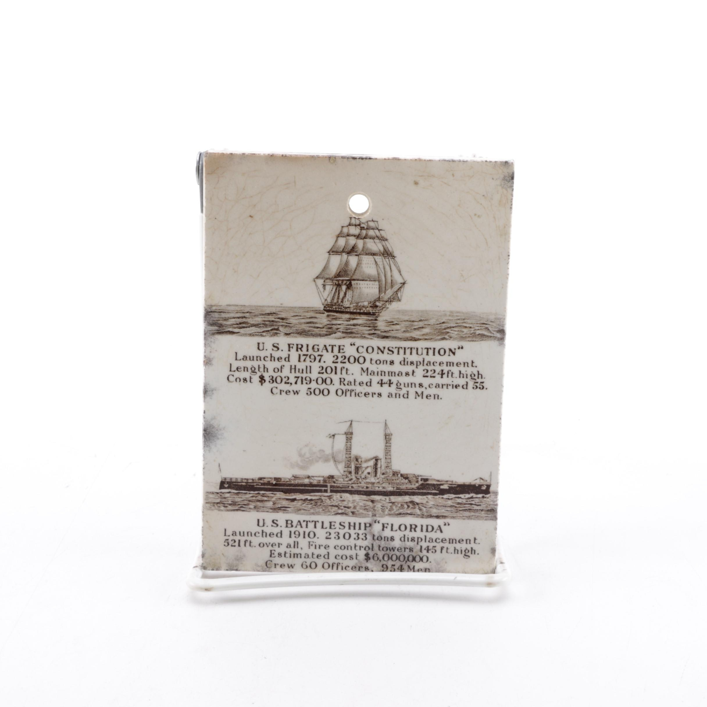 Antique Ceramic Promotional Tile with Calendar and Naval Vessels