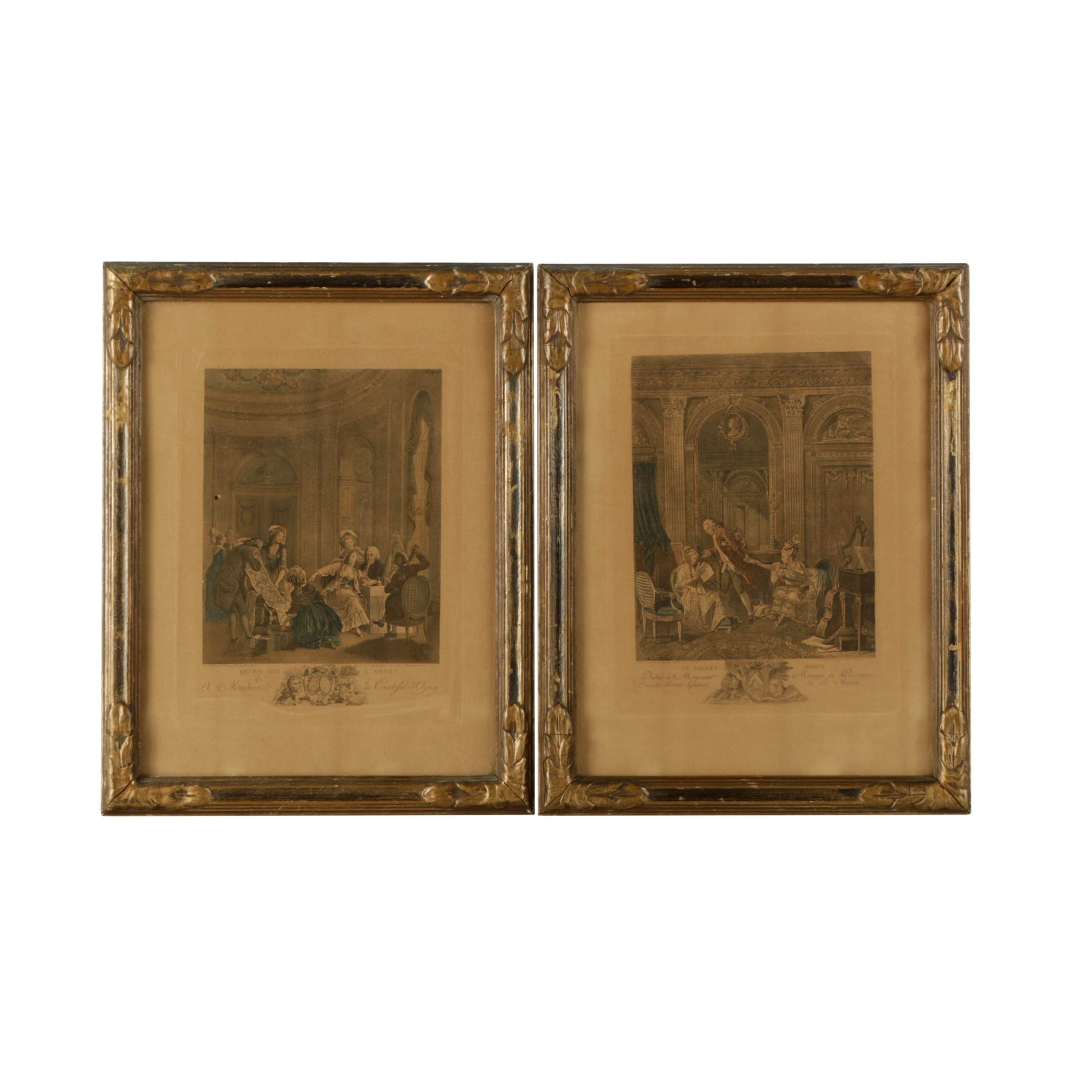 Antique Hand Colored Engravings on Paper of French Interiors