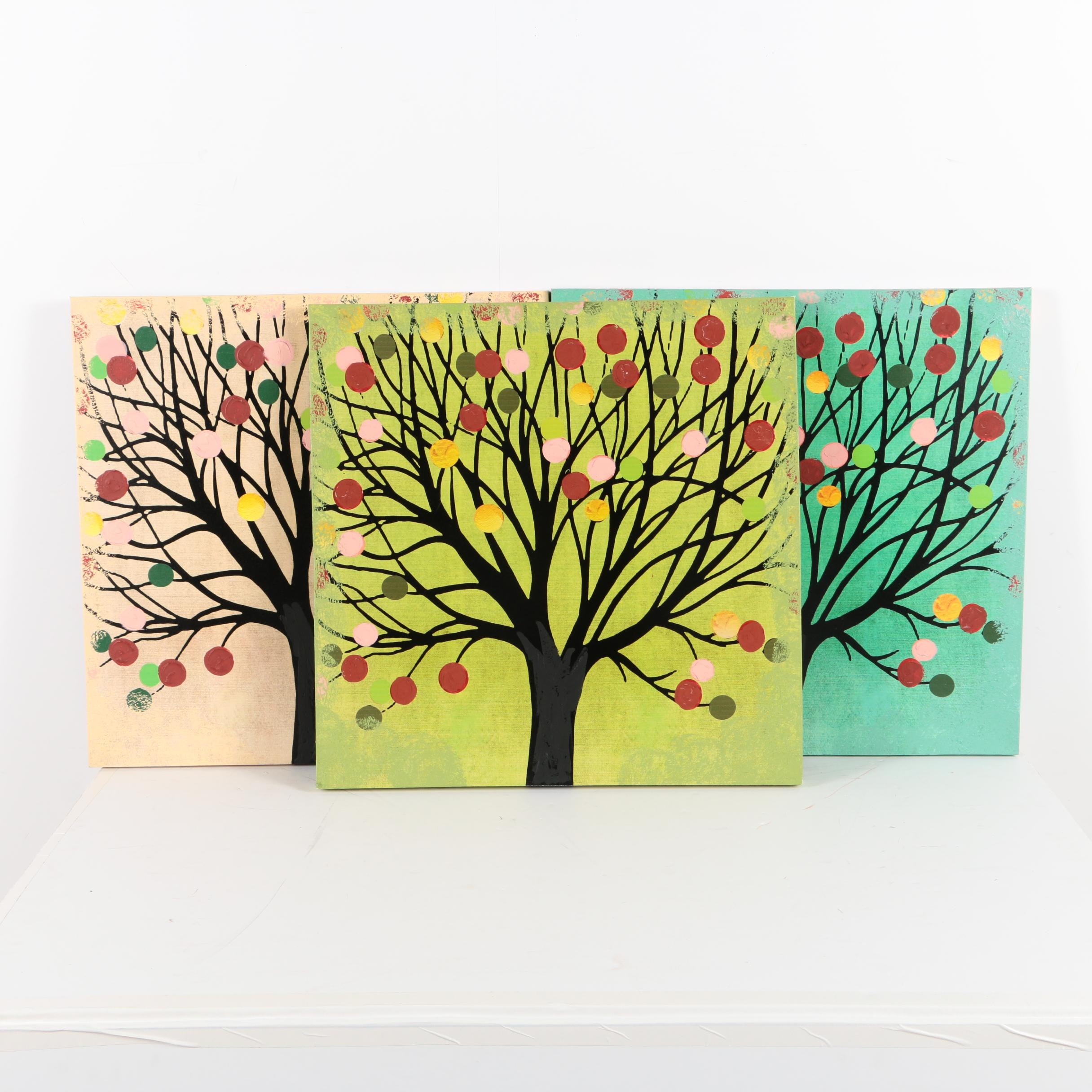 Embellished Giclee on Canvas of Trees