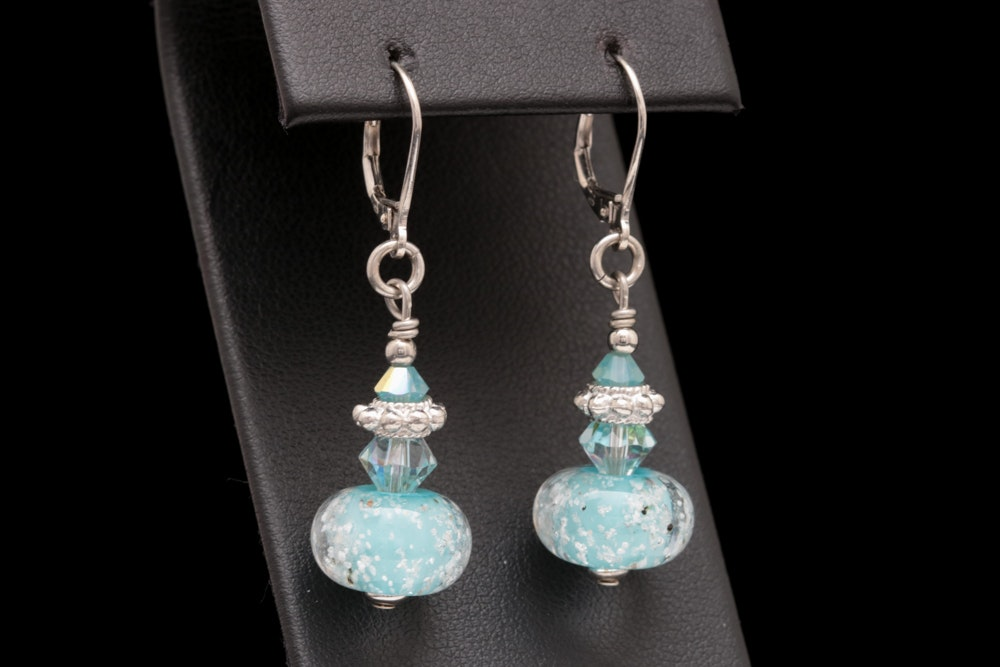 Sterling Silver, Crystal and Glass Bead Dangle Earrings