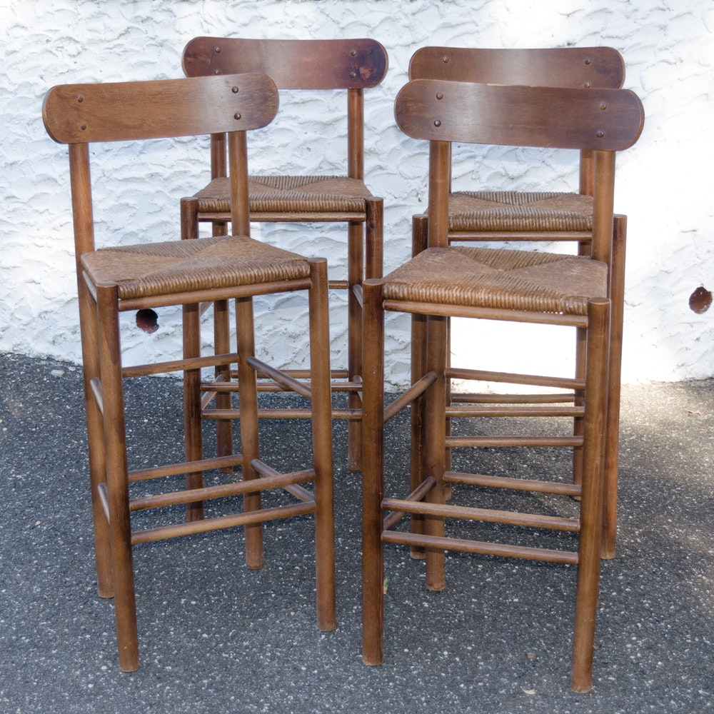 Pair Of Folk Art Cat Stools Ebth