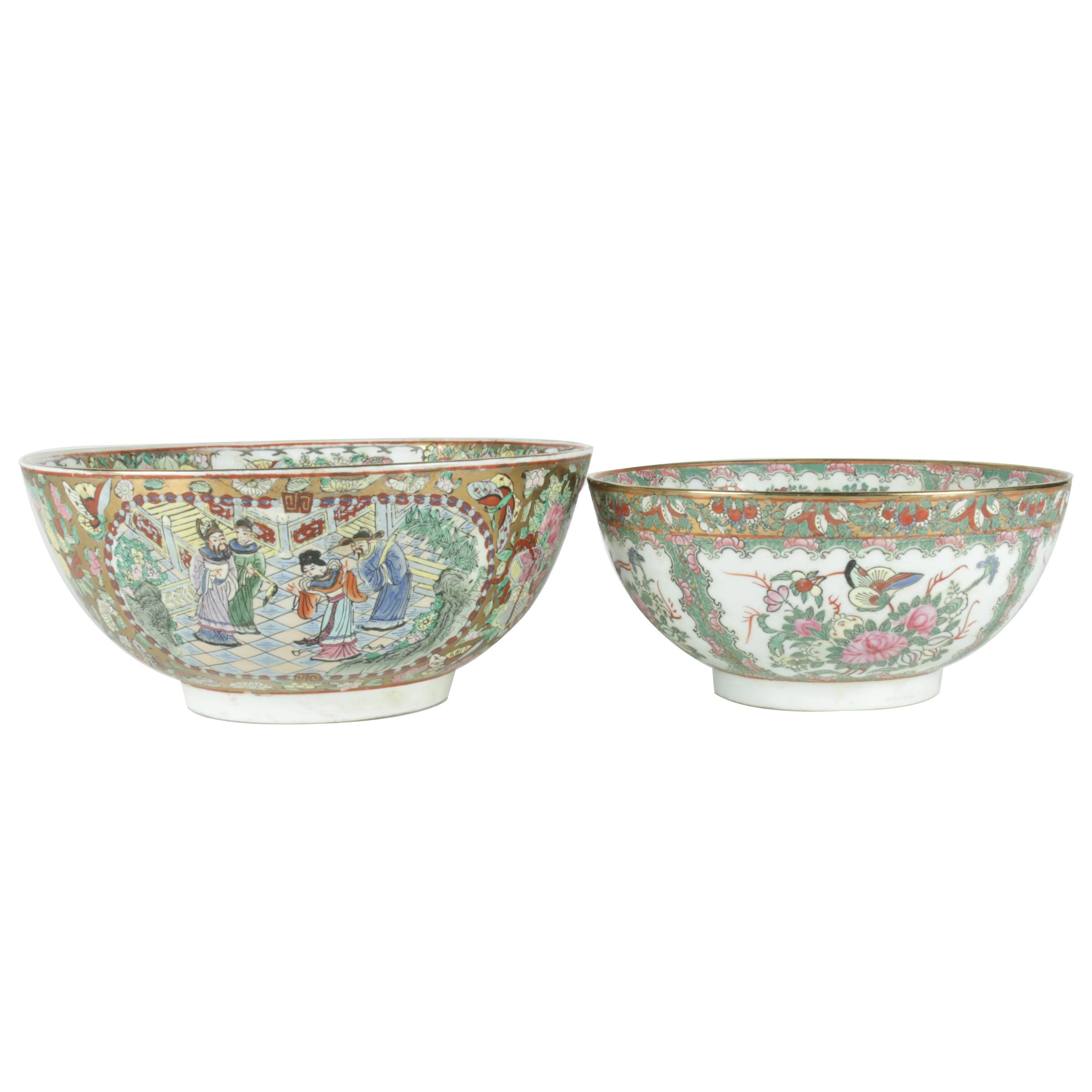 Pair of Chinese Export Famille Rose Style Bowls