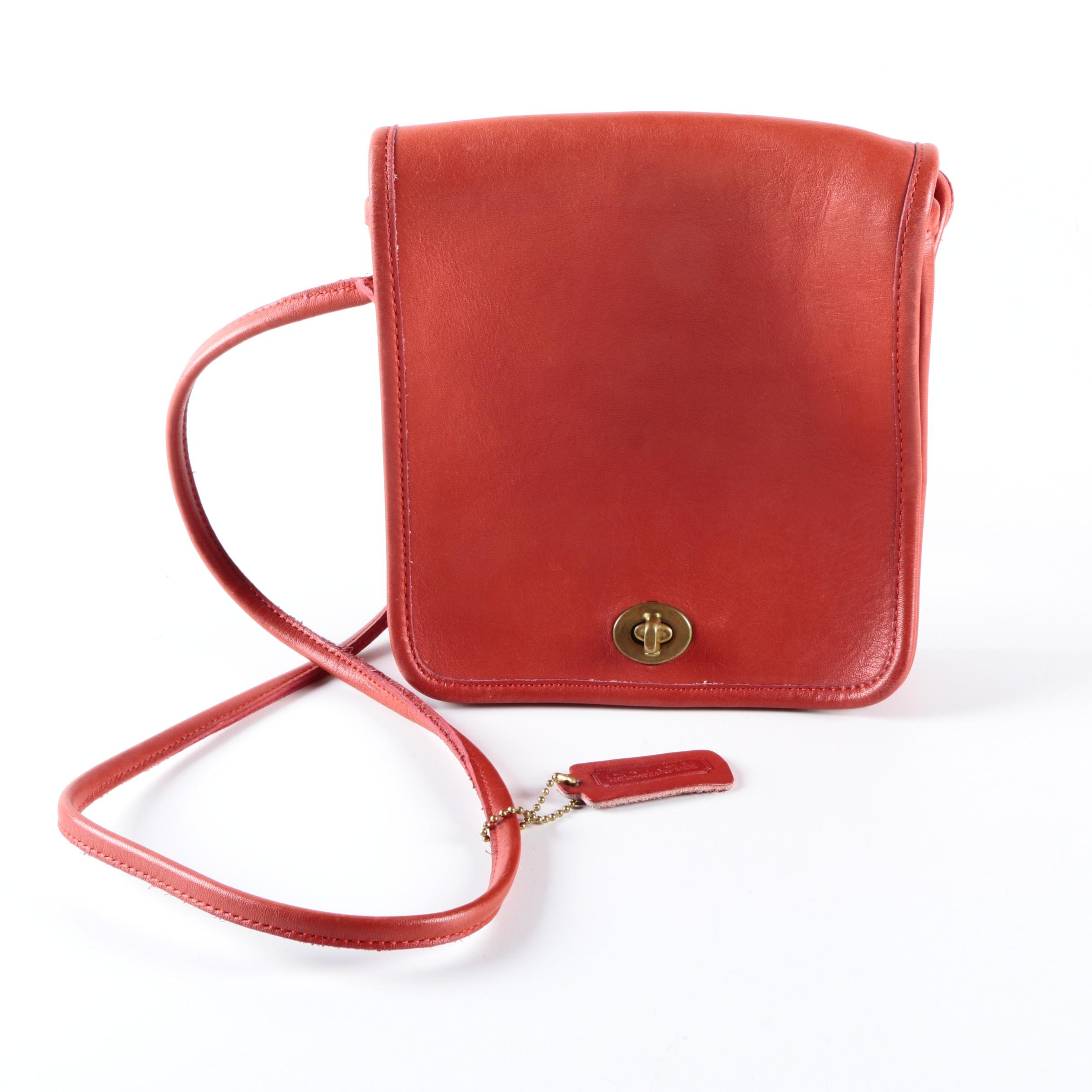 Vintage Coach Red Leather Crossbody Bag