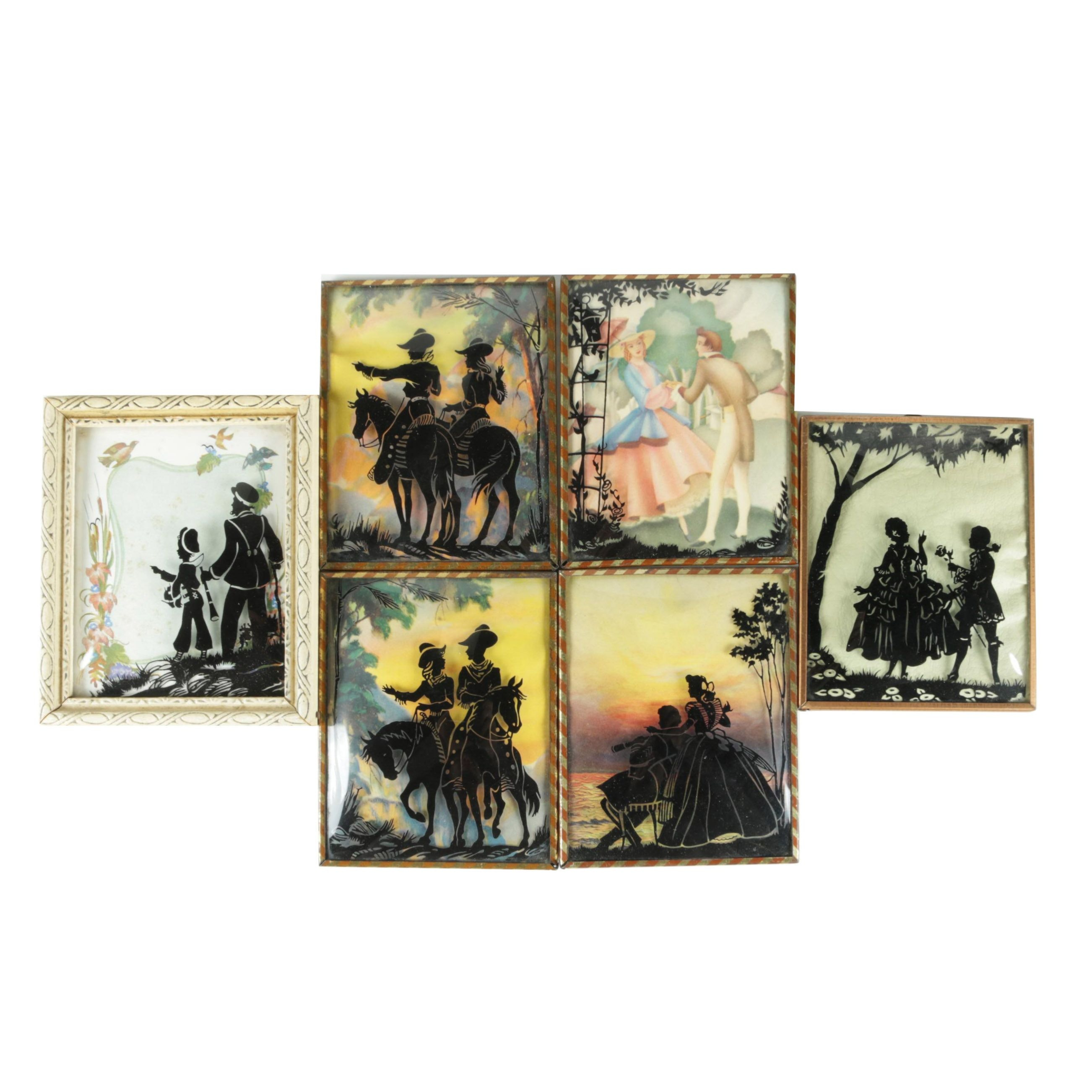 Reverse-Printed Silhouette Portraits on Glass Including Cowboy and Cowgirl