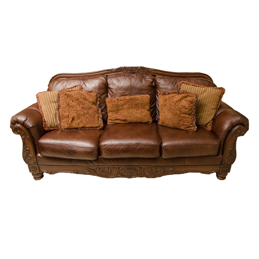 North Shore Leather Sofa By Ashley Furniture Ebth