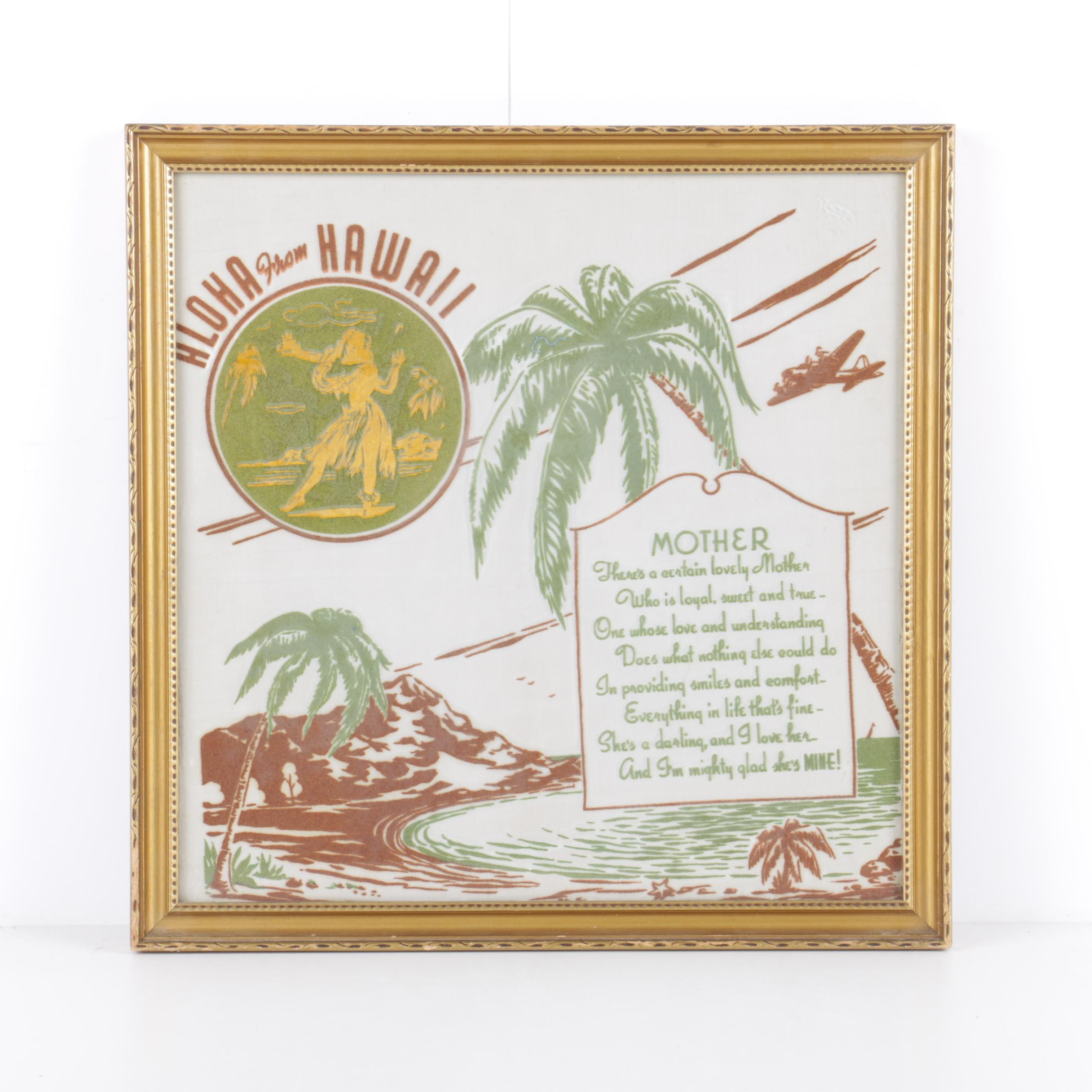 "Vintage ""Aloha From Hawaii"" Flocking and Embroidery on Silk Wall Décor"
