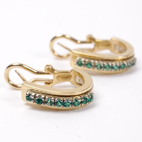 14K Green Stone Earrings