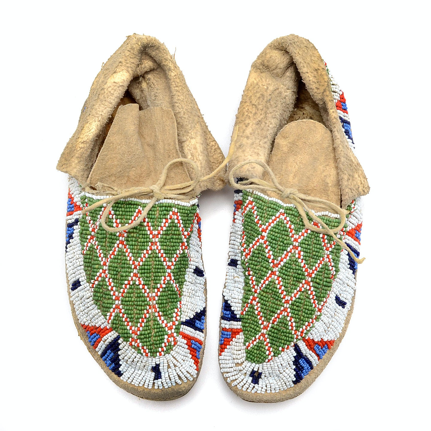 Circa 1900 Sioux American Indian Beaded Moccasins