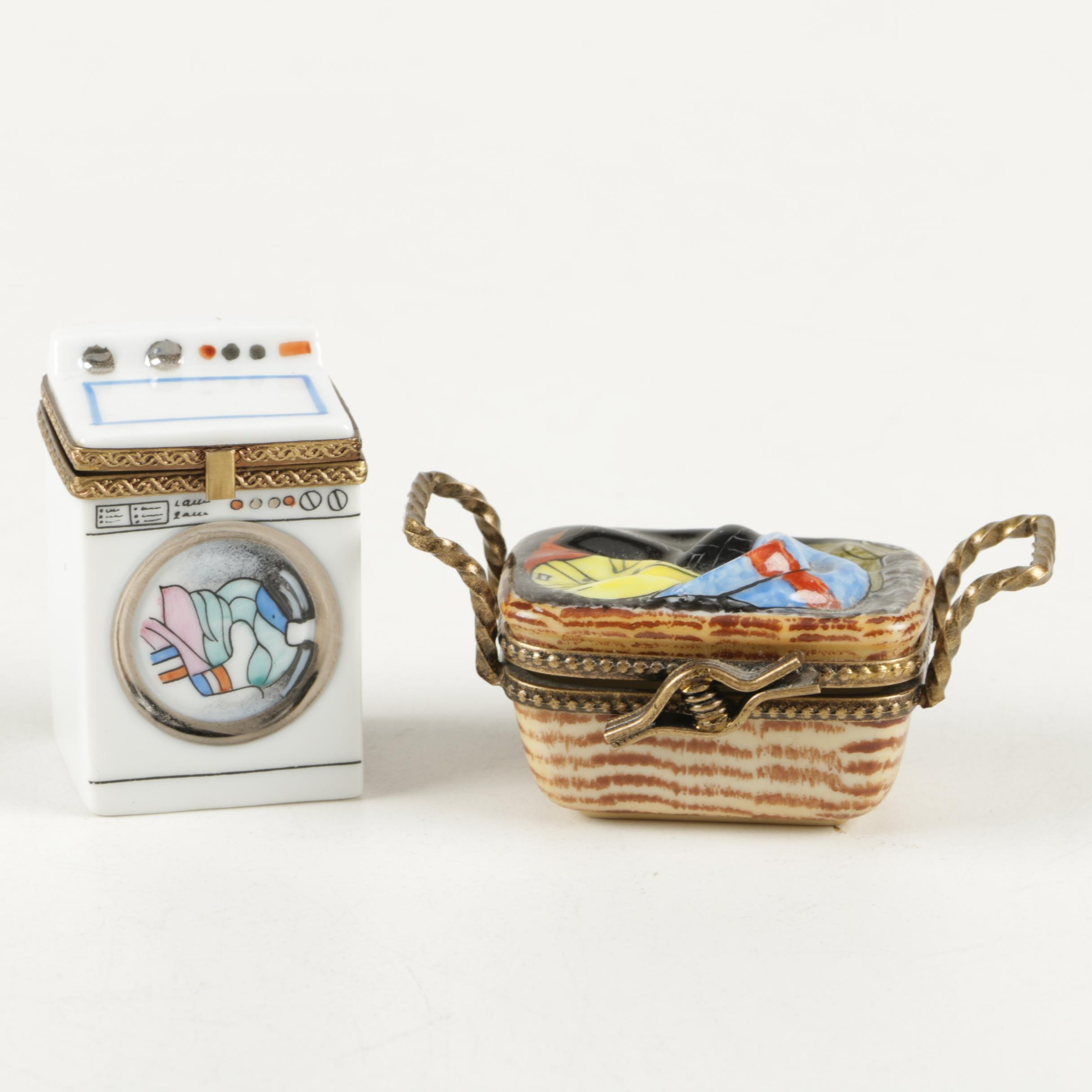 Laundry Themed Limoges Trinket Boxes