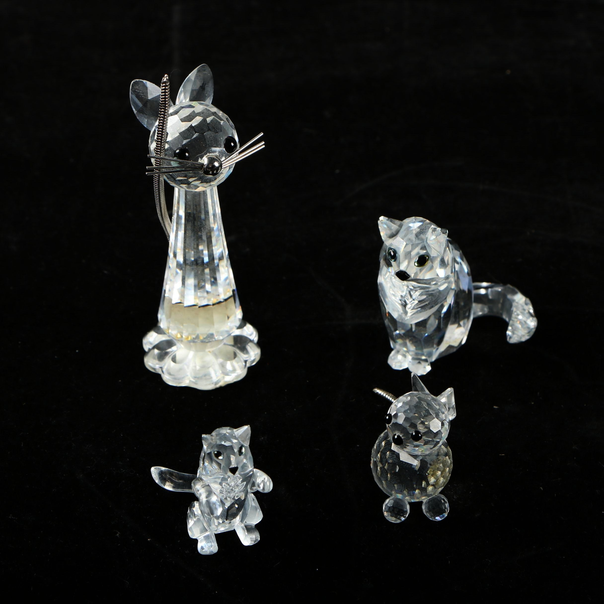 Swarovski Crystal Cat Figures