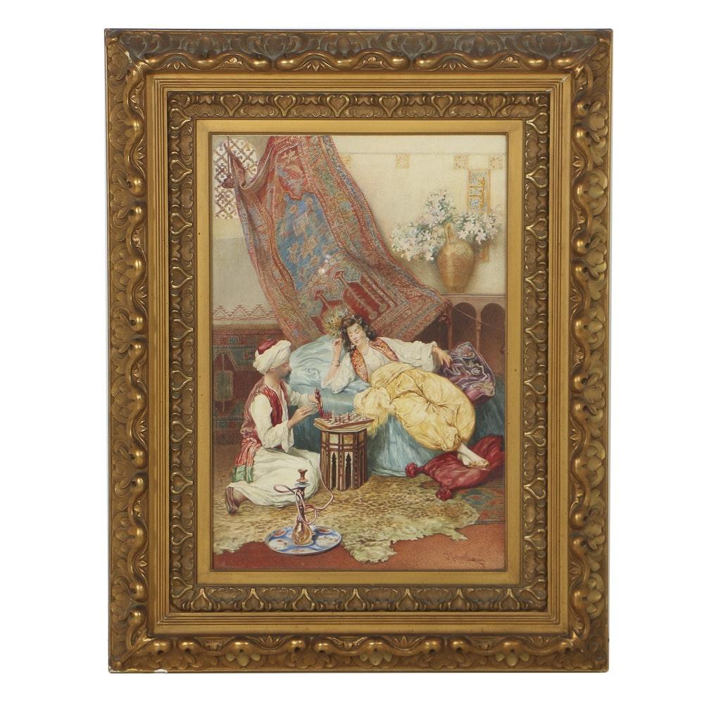 Umberto Cacciarelli Orientalist Watercolor Painting on Paper of Harem Interior