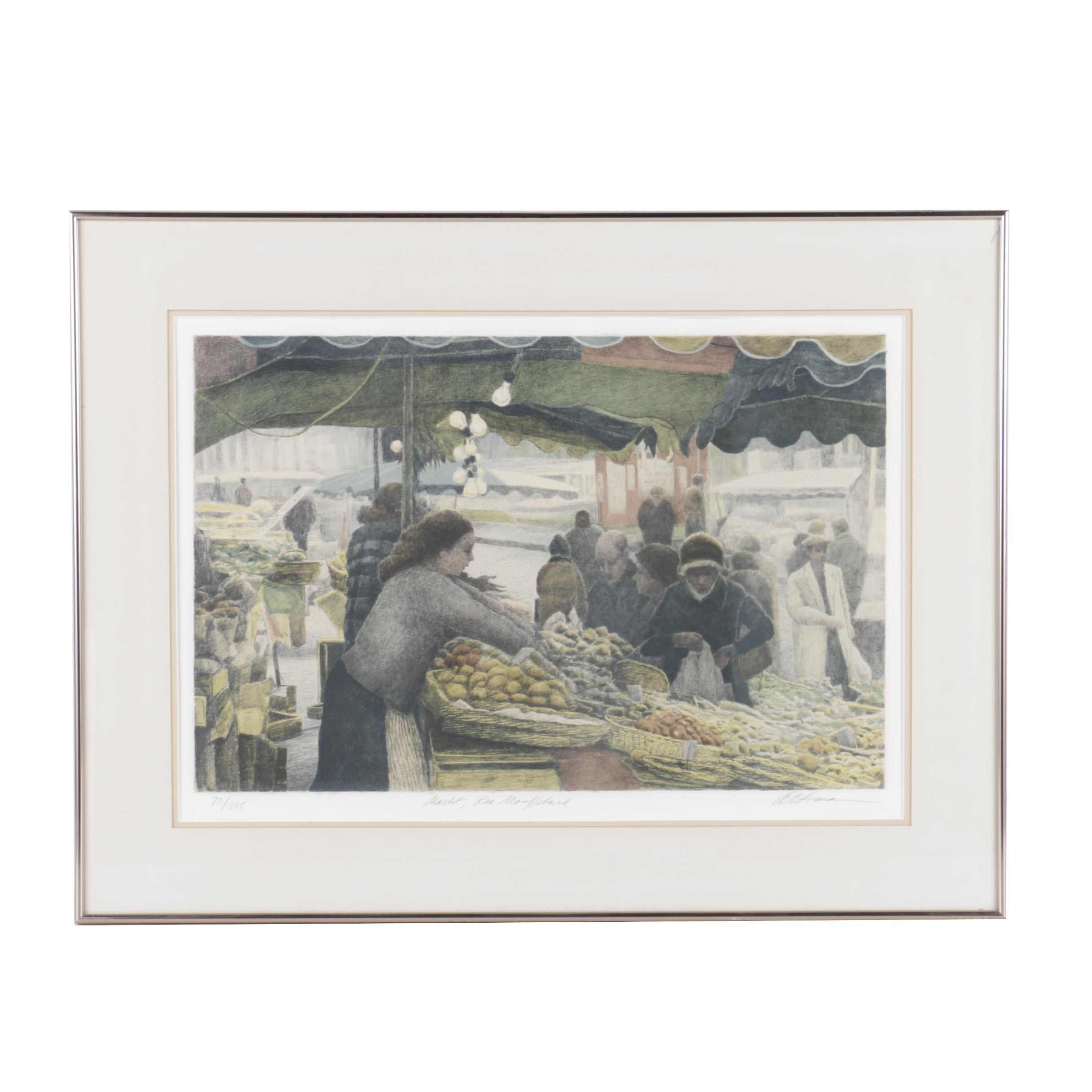 """Harold Altman Limited Edition Lithograph on Paper """"Market, Rue Mouffetard"""""""