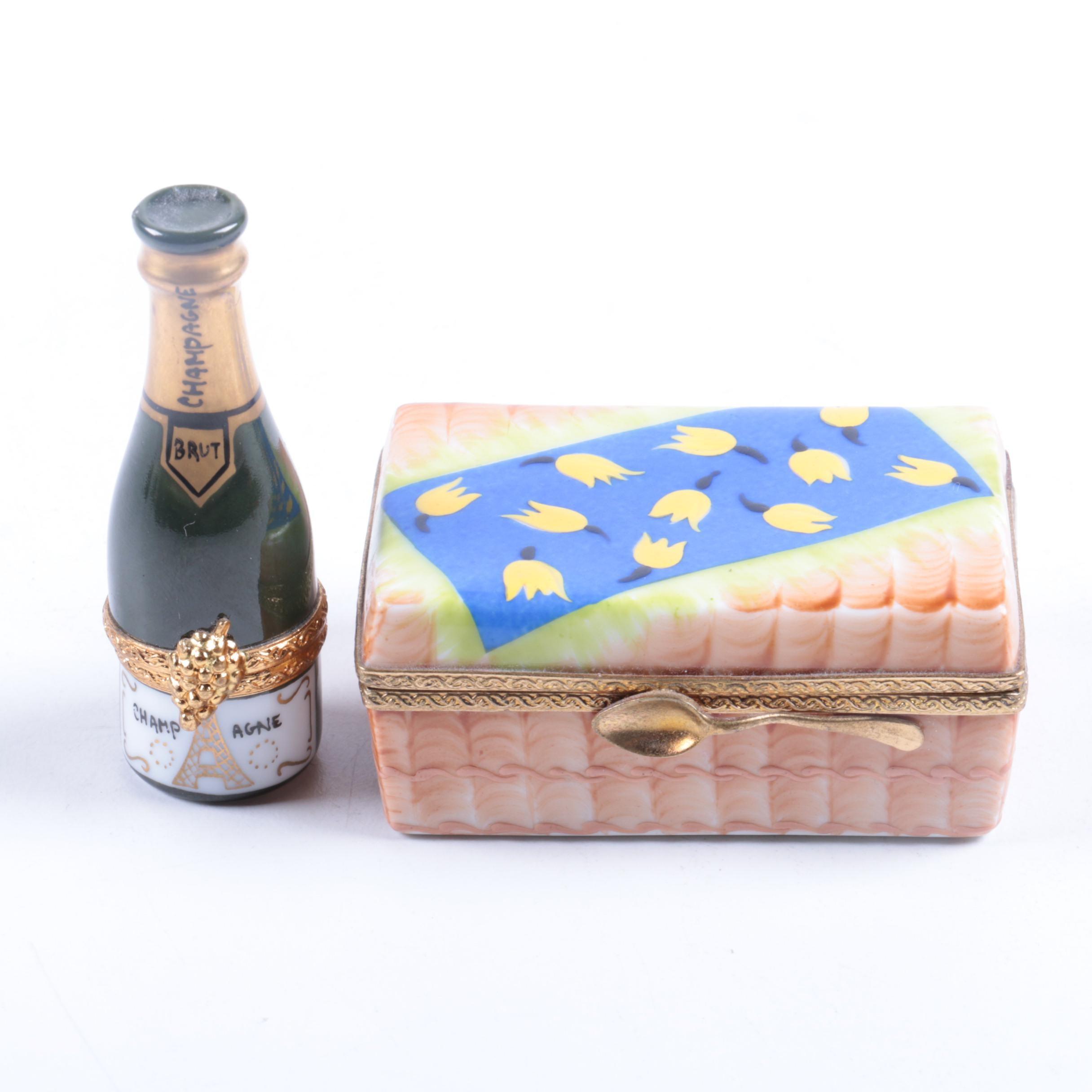 Porcelain Limoges Champagne Bottle and Picnic Basket Trinket Boxes