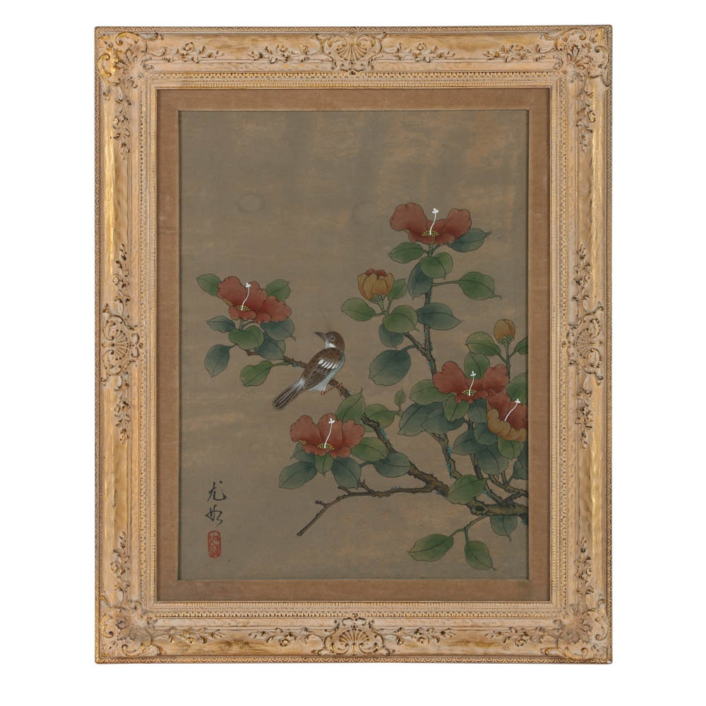 East Asian Style Watercolor Painting on Silk Bird and Flower Motif