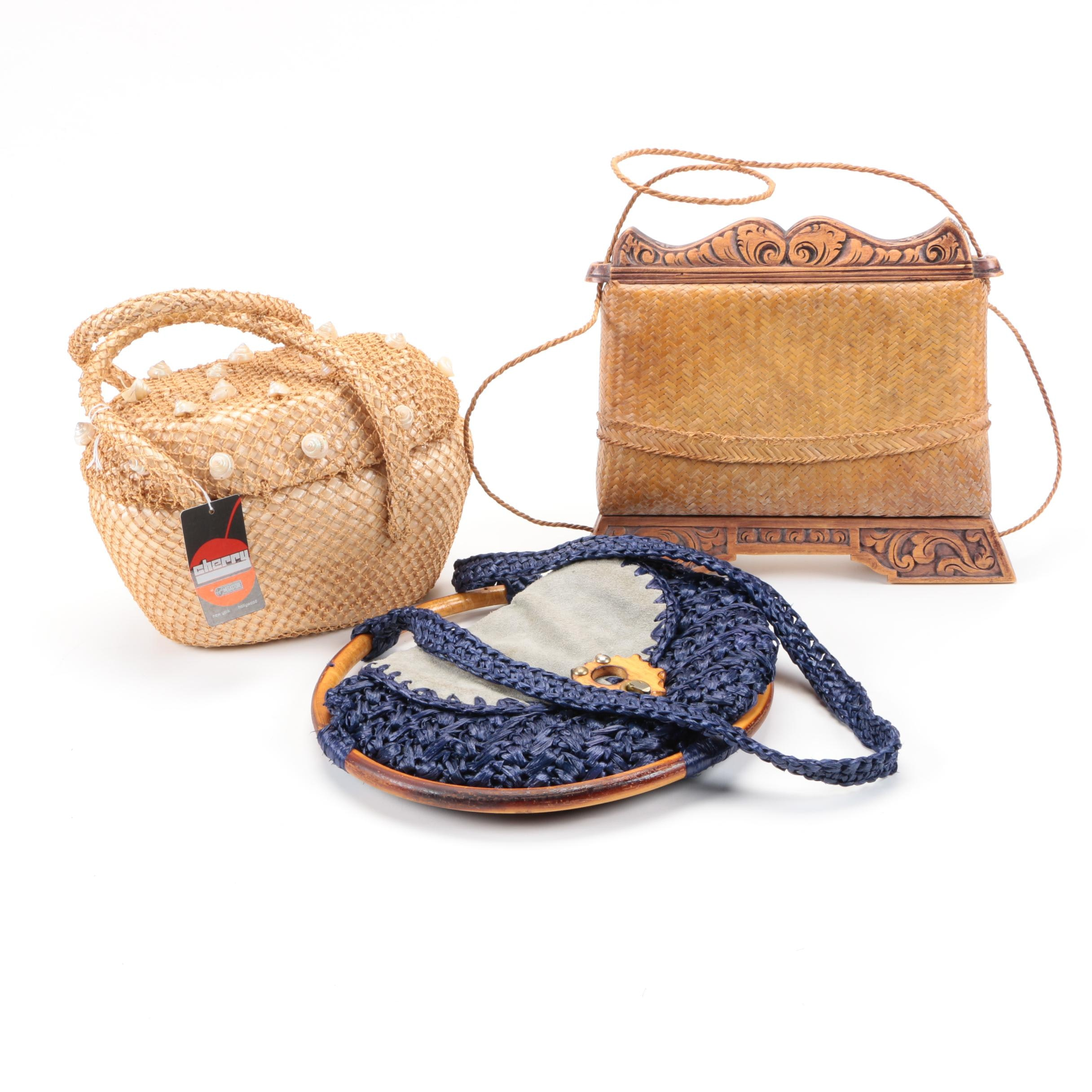 Vintage 1940s & 1950s Straw Handbags Including Josef