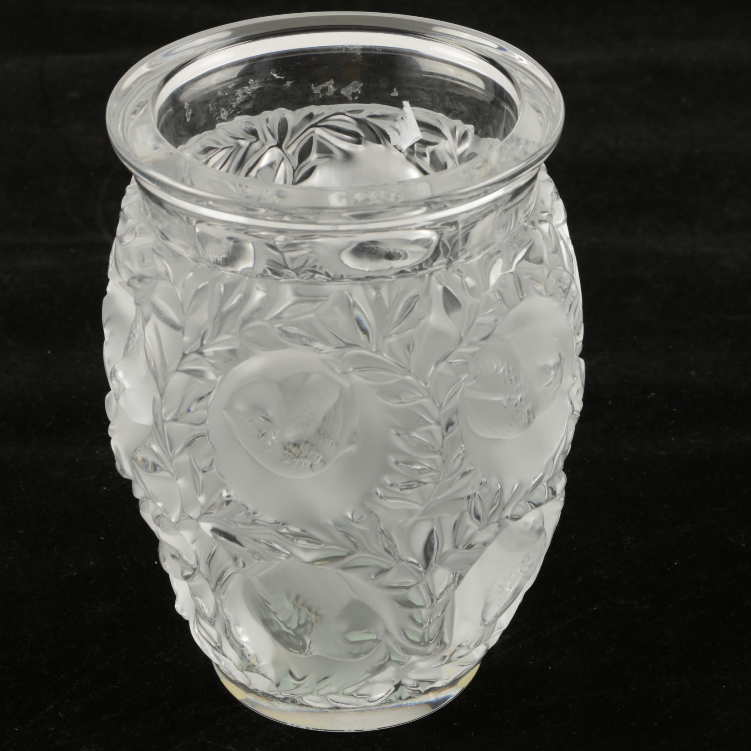 """Lalique """"Bagatelle"""" Frosted Crystal Pot Vase"""