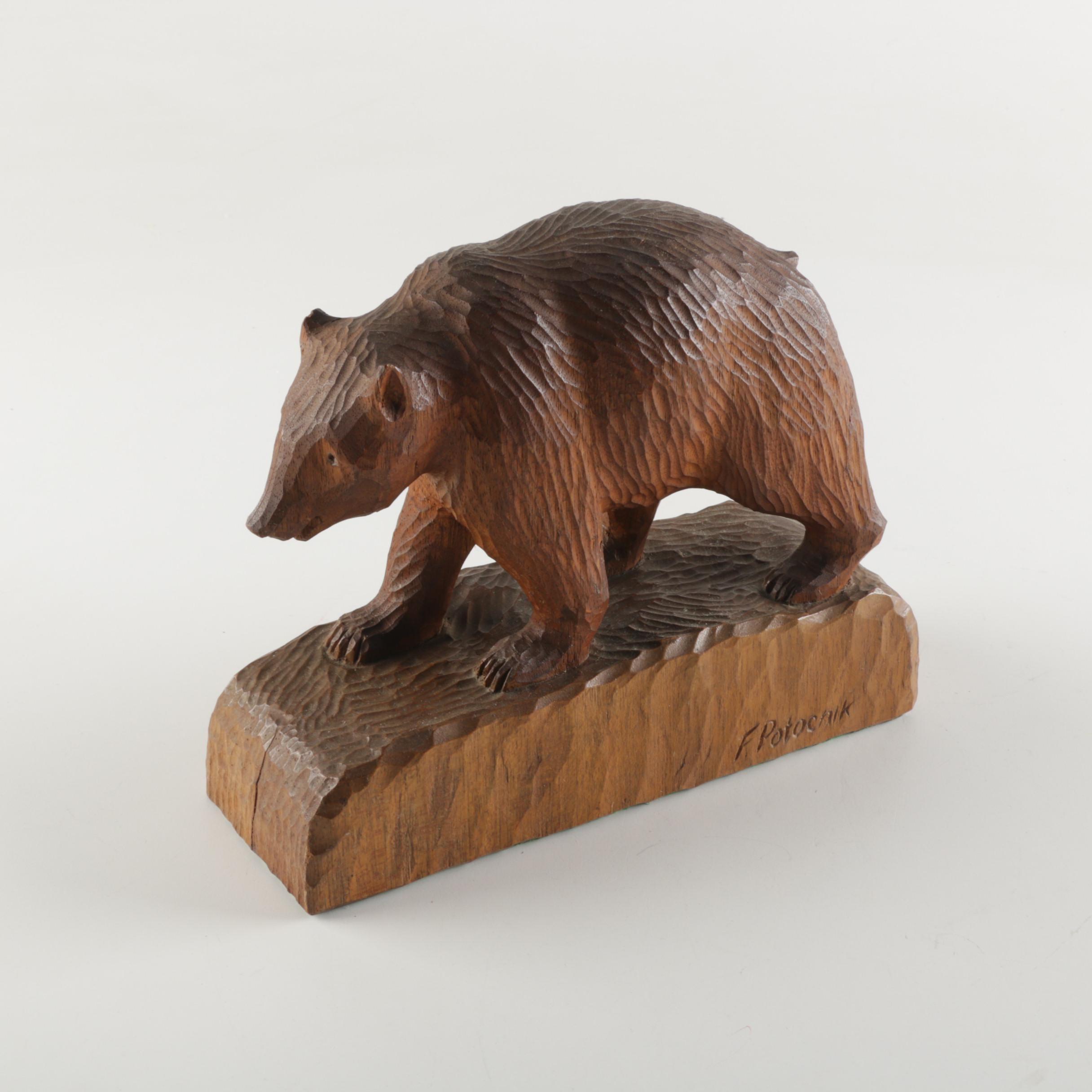 Frank Potocnik Carved Wood Bear Sculpture