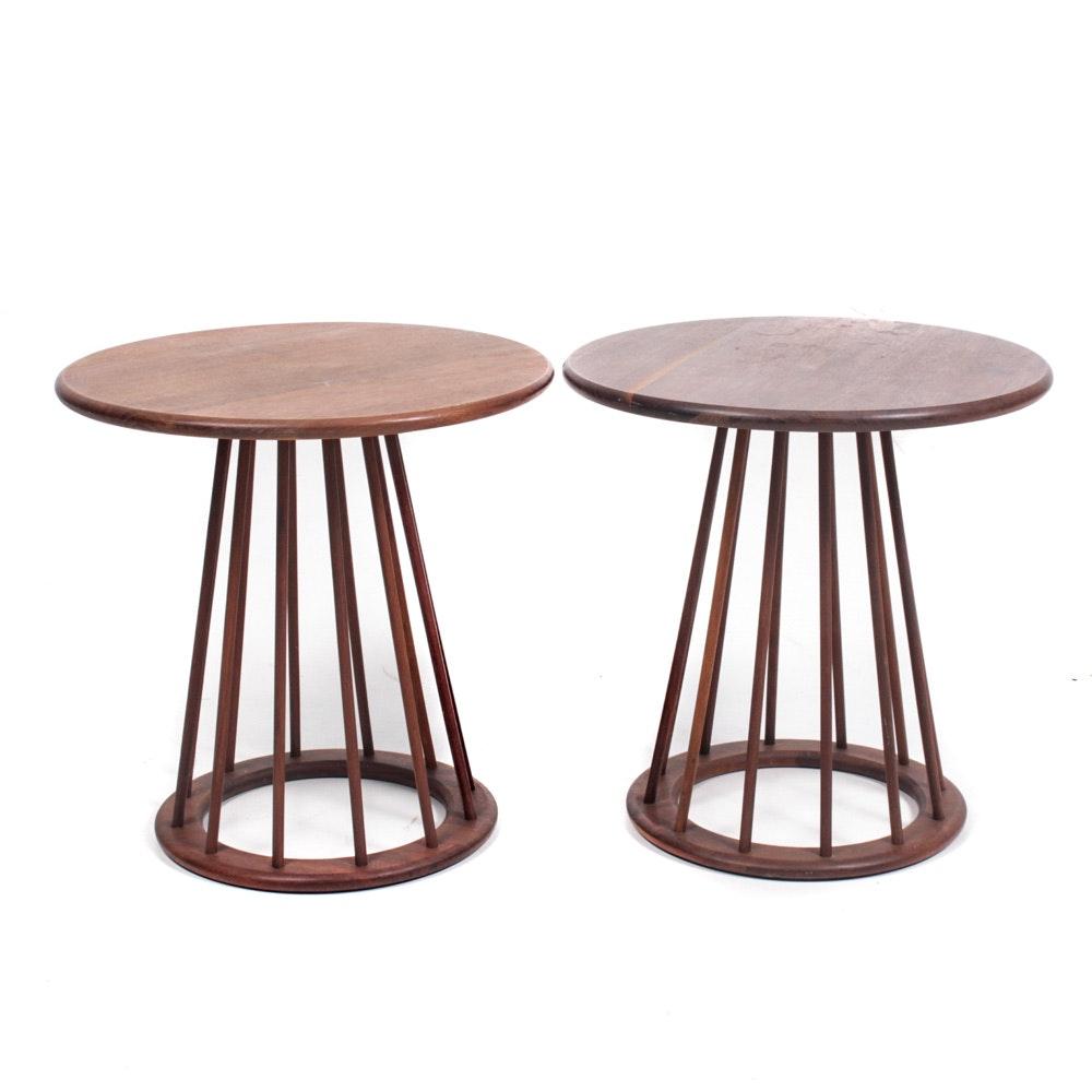 Arthur Umanoff Mid Century Modern Spindle Walnut Side Tables