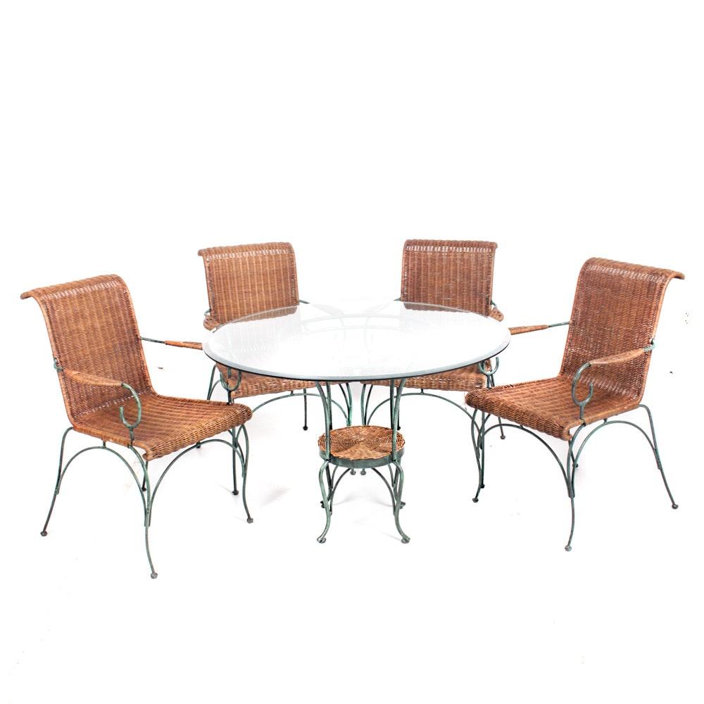 Verdigris Metal and Wicker Patio Furniture Set