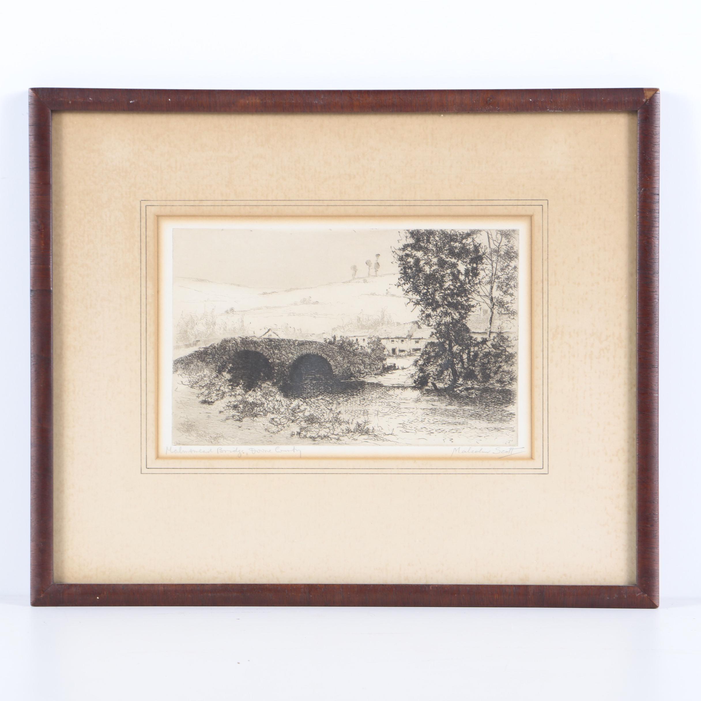 "Malcolm Scott Etching on Paper ""Malmsmead Bridge, Devon County"""