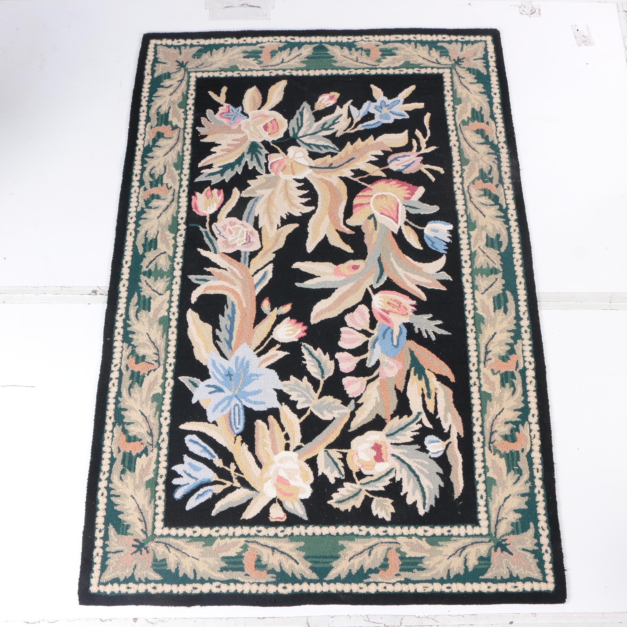 Hand-Hooked Indian Wool Area Rug
