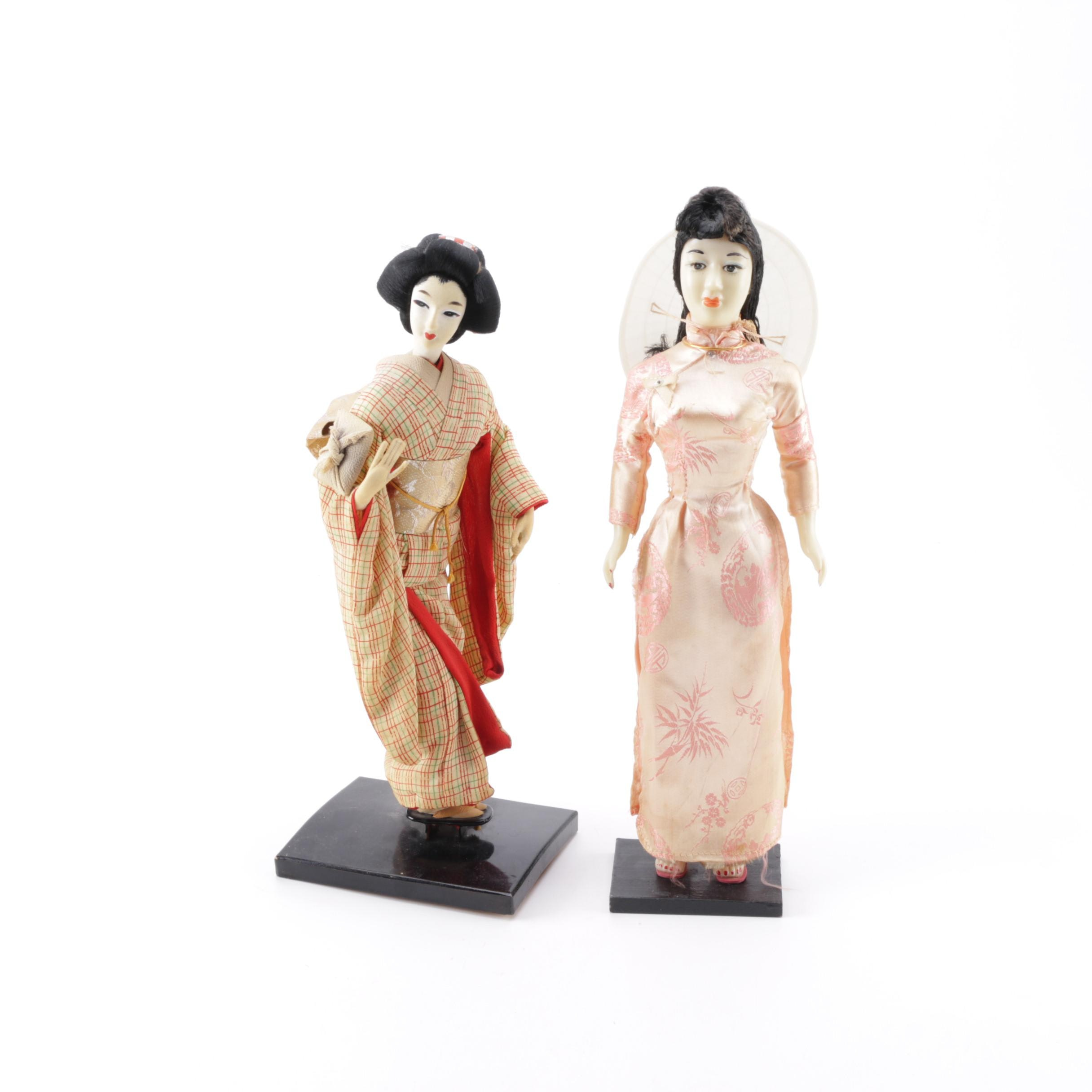 Hand Crafted Wax and Stocking Asian Dolls