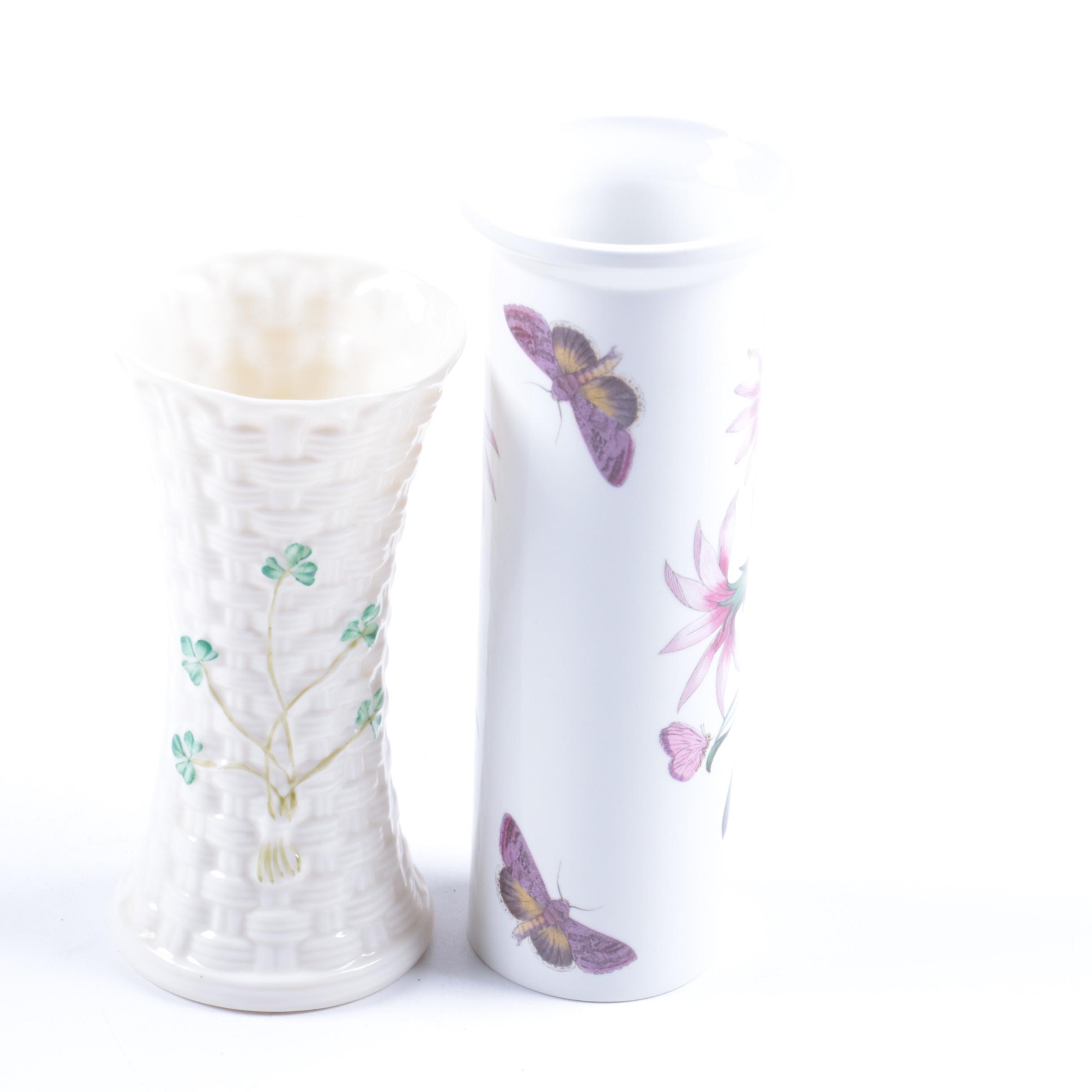 Belleek Porcelain Vase and Portmeirion Botanic Vase