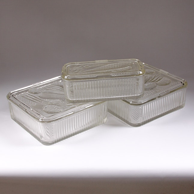 Vintage Pressed Glass Refrigerator Dishes, Likely Federal