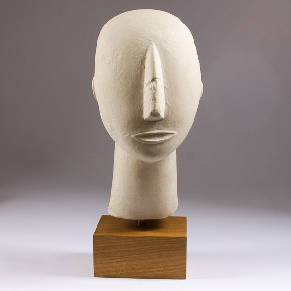 Cast Plaster Reproduction of a Cycladic Head from Amorgos, Greece