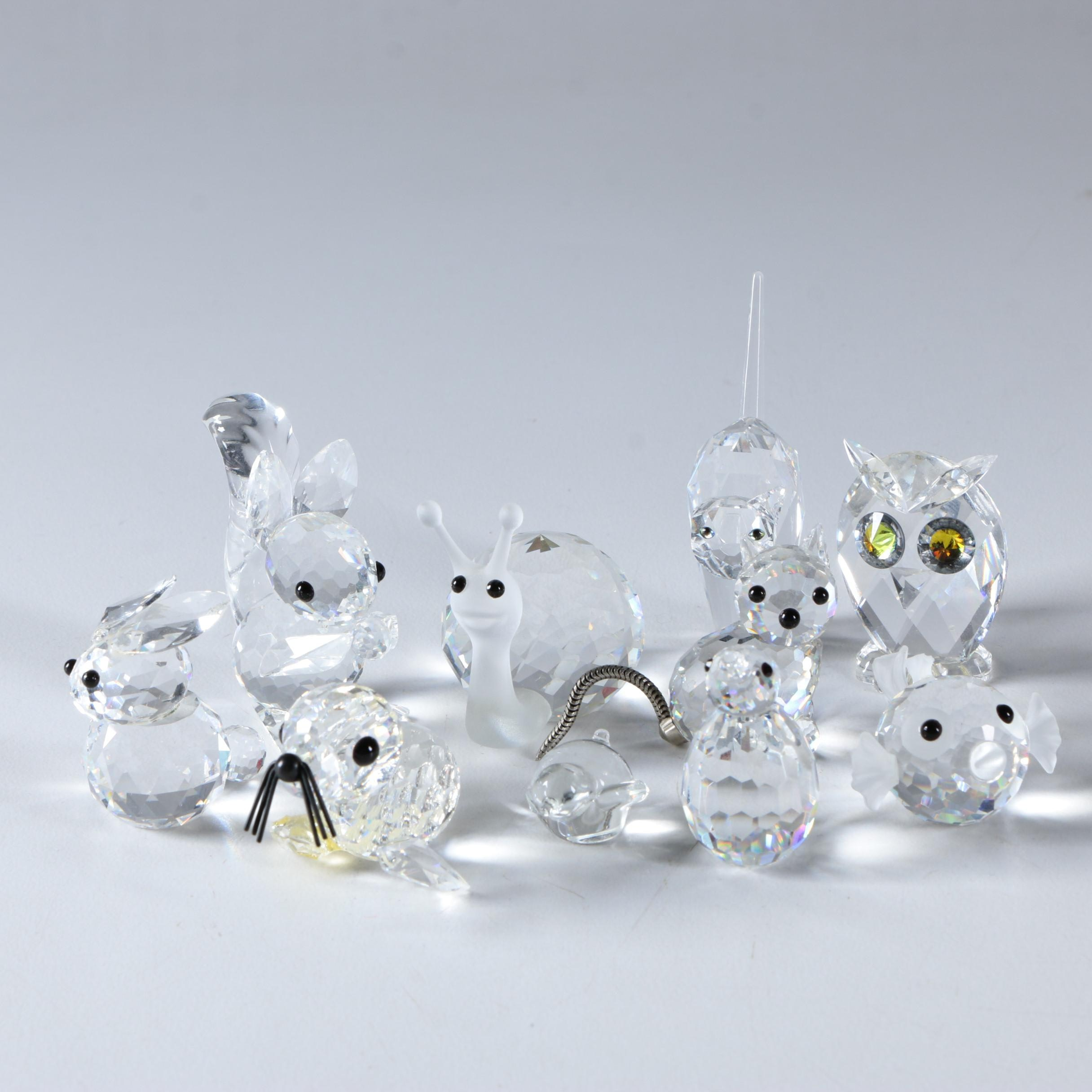 Crystal and Glass Faceted Animal Figurines