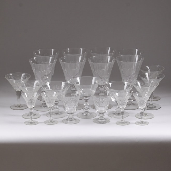Vintage Glass Etched Barware