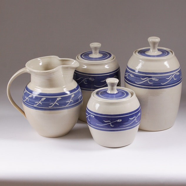 Stoneware Canisters and Pitcher