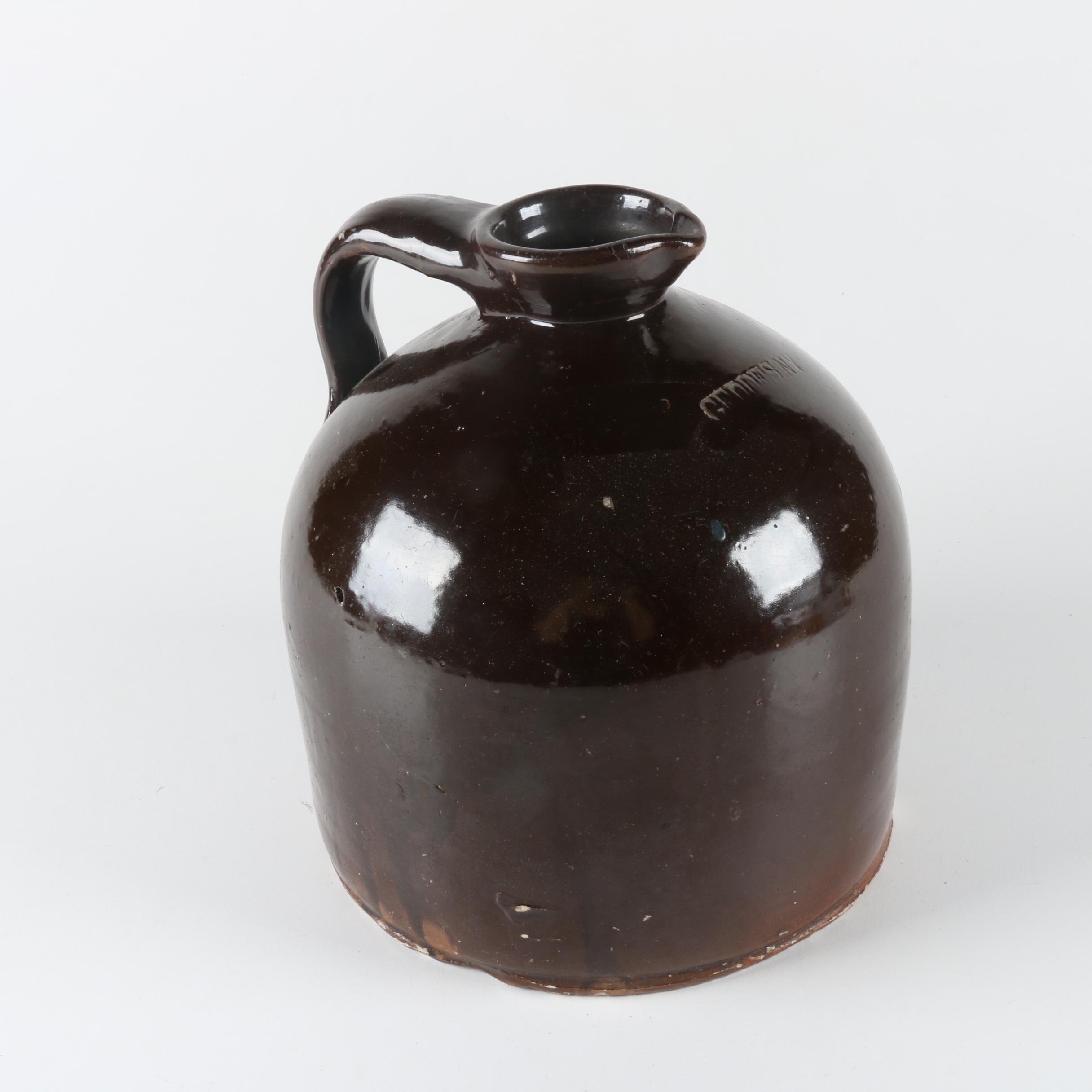 Vintage Geddes N.Y. Albany Glazed Stoneware Jug