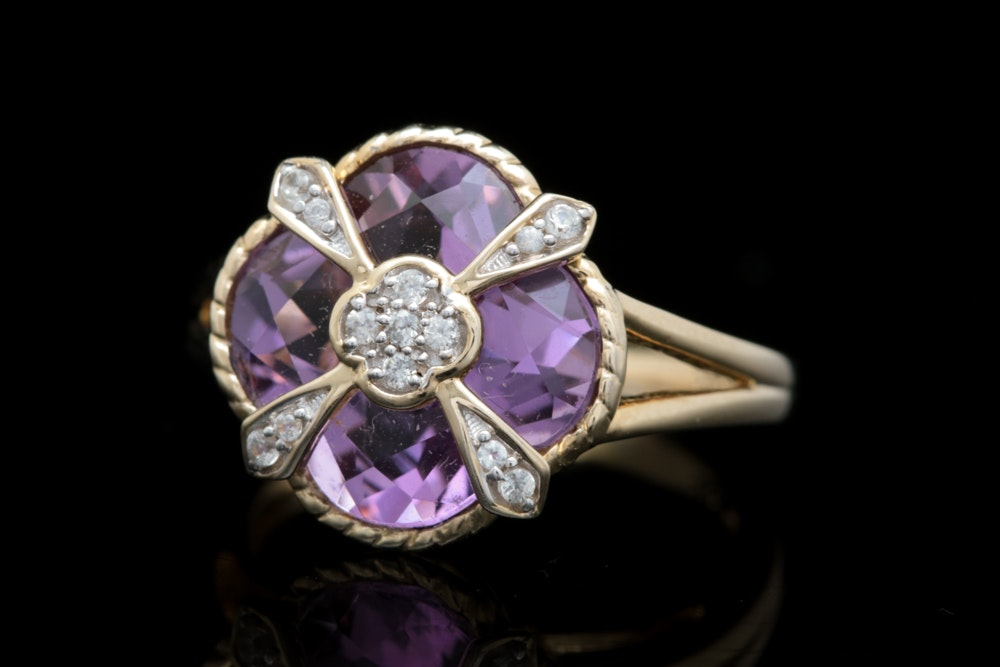 Gold Wash on Sterling Silver, Amethyst and White Sapphire Ring