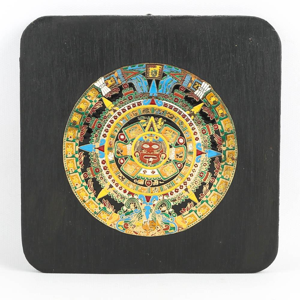 Aztec Calendar on Wood Panel
