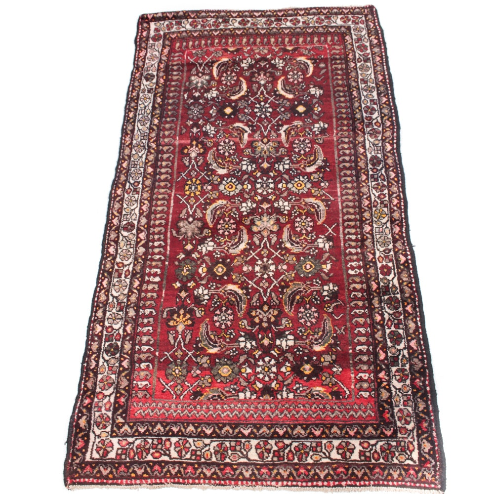 Vintage Hand-Knotted Persian Sarouk Area Rug
