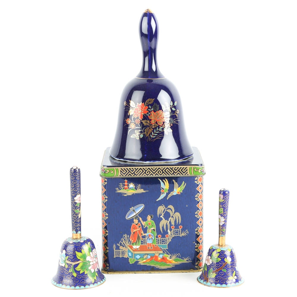 Cloisonné Dinner Bells and Tea Caddy