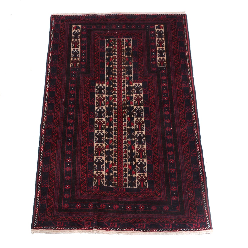 Semi-Antique Persian Baluch Prayer Rug