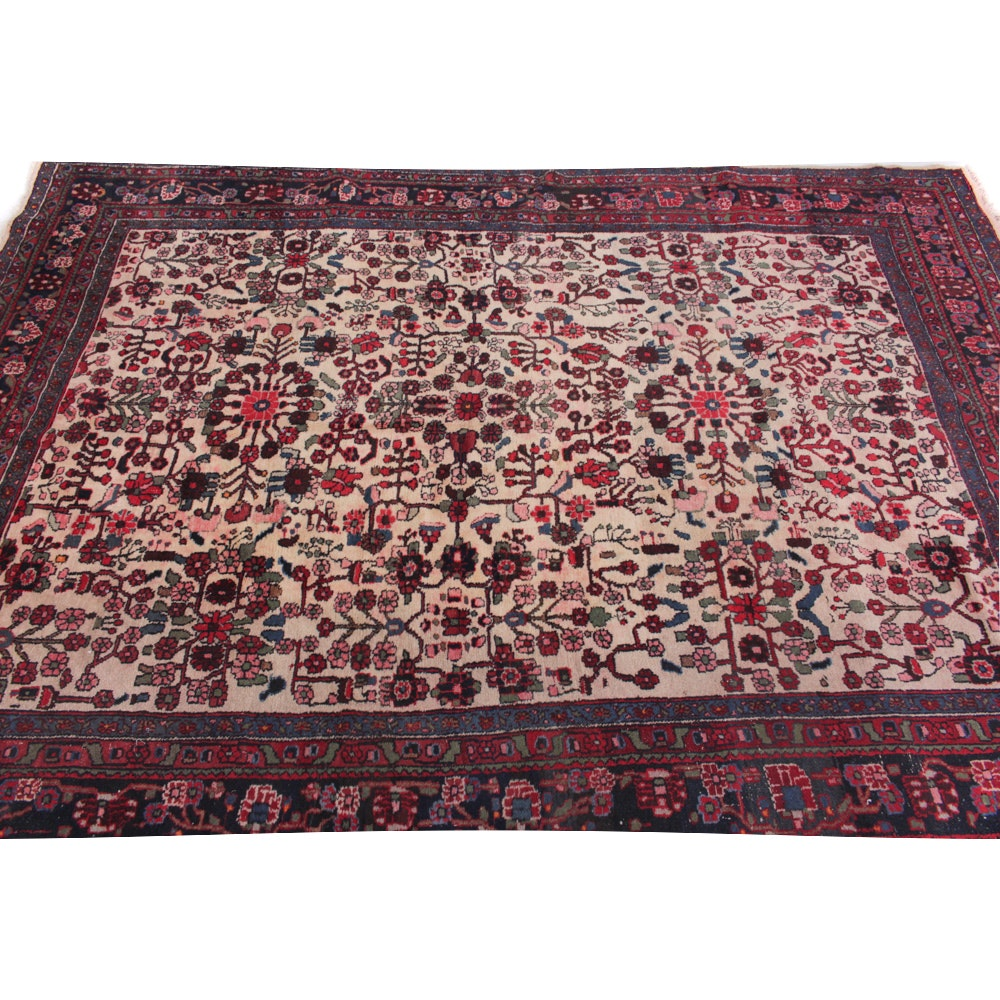 Hand-Knotted Semi Antique Persian Nahavand Area Rug
