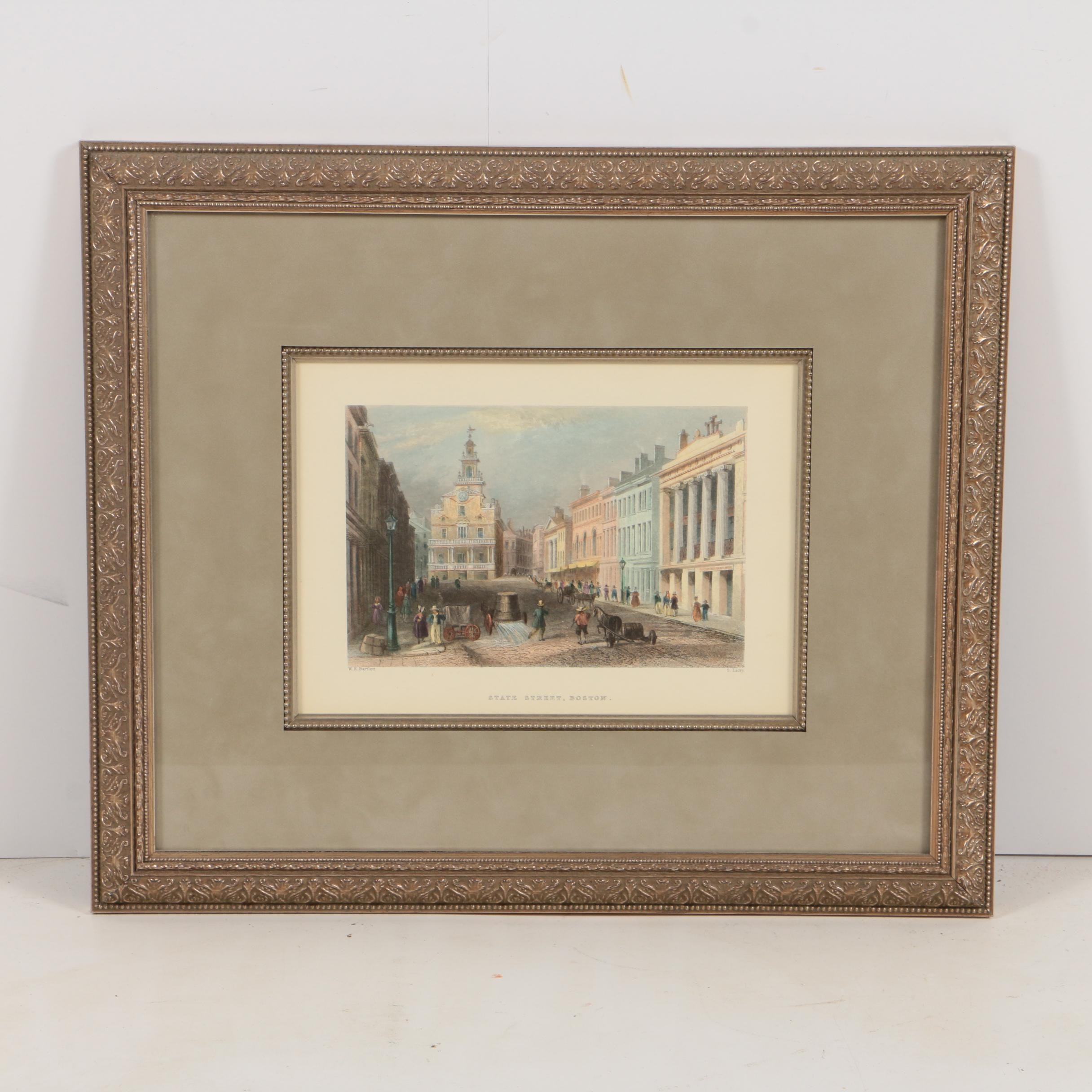 """Hand-Colored Halftone Print on Paper """"State Steet, Boston"""""""