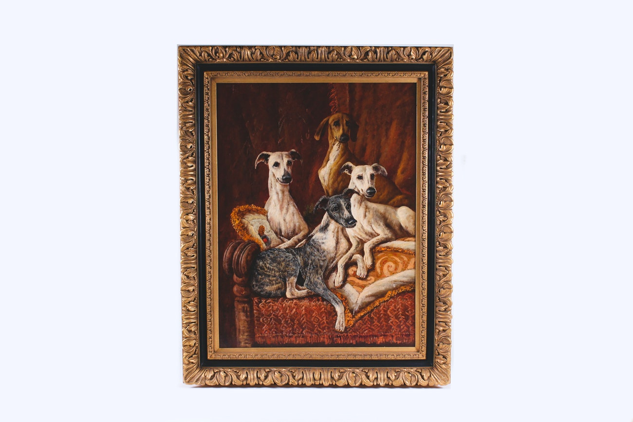 Oil on Canvas Painting of Lounging Greyhounds