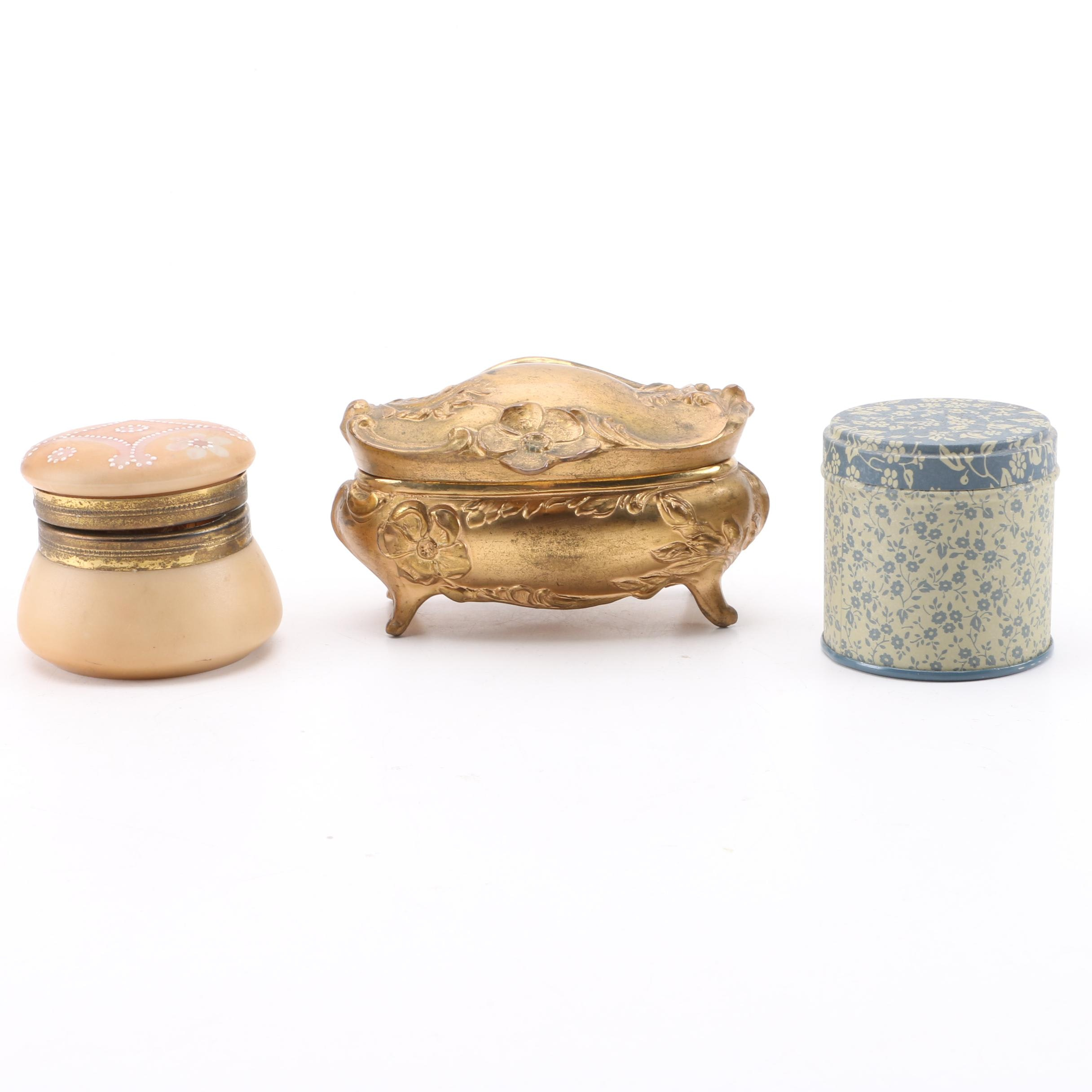 Three Small Decorative Containers